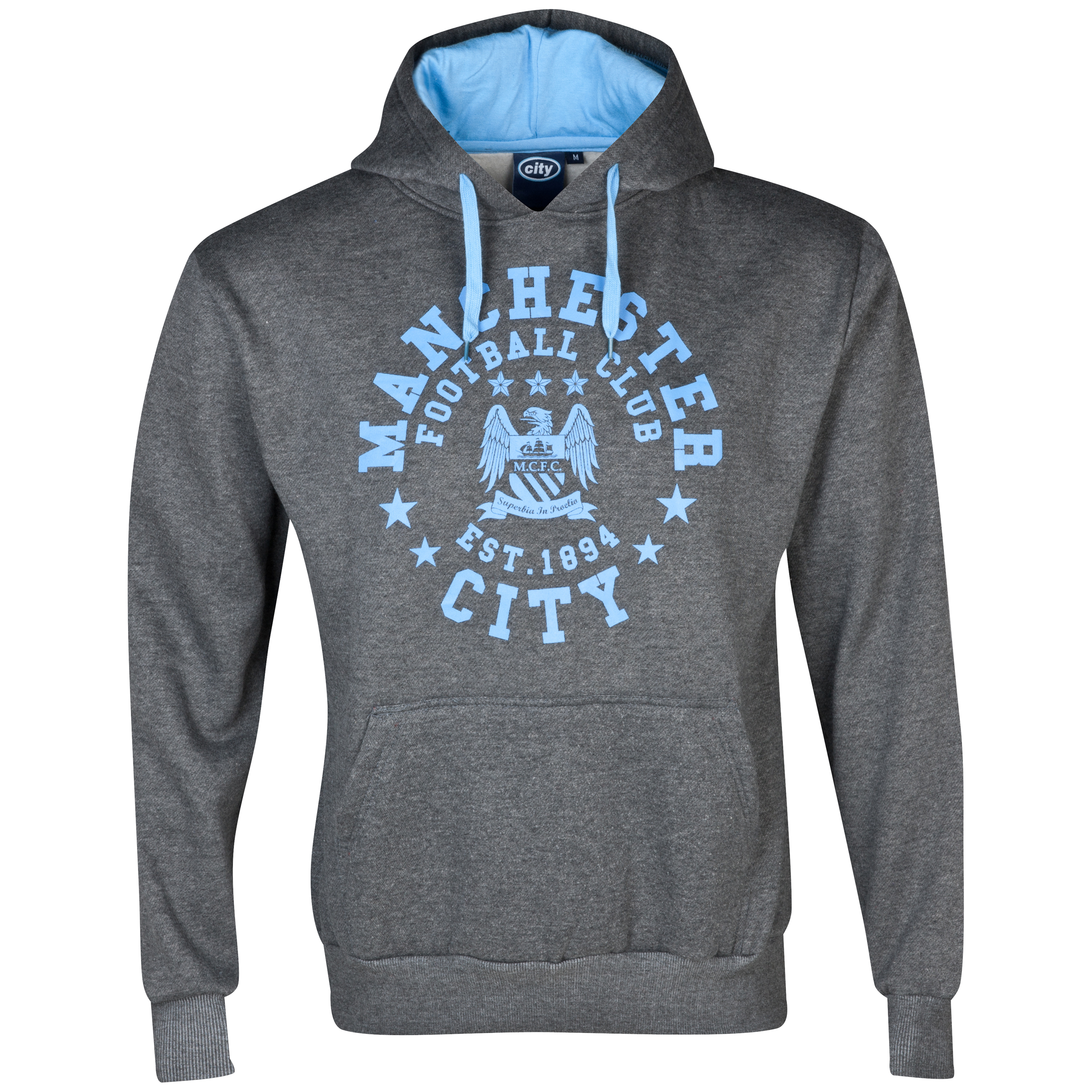 Manchester City Essentials Trail Hoody - Mens Charcoal