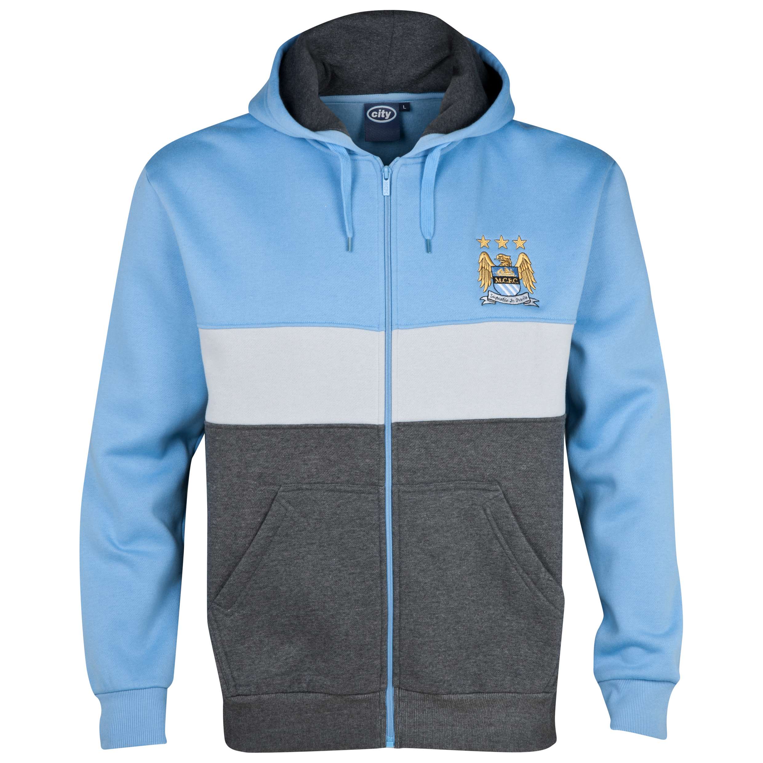 Manchester City Essentials Panel Hoody - Mens Lt Blue