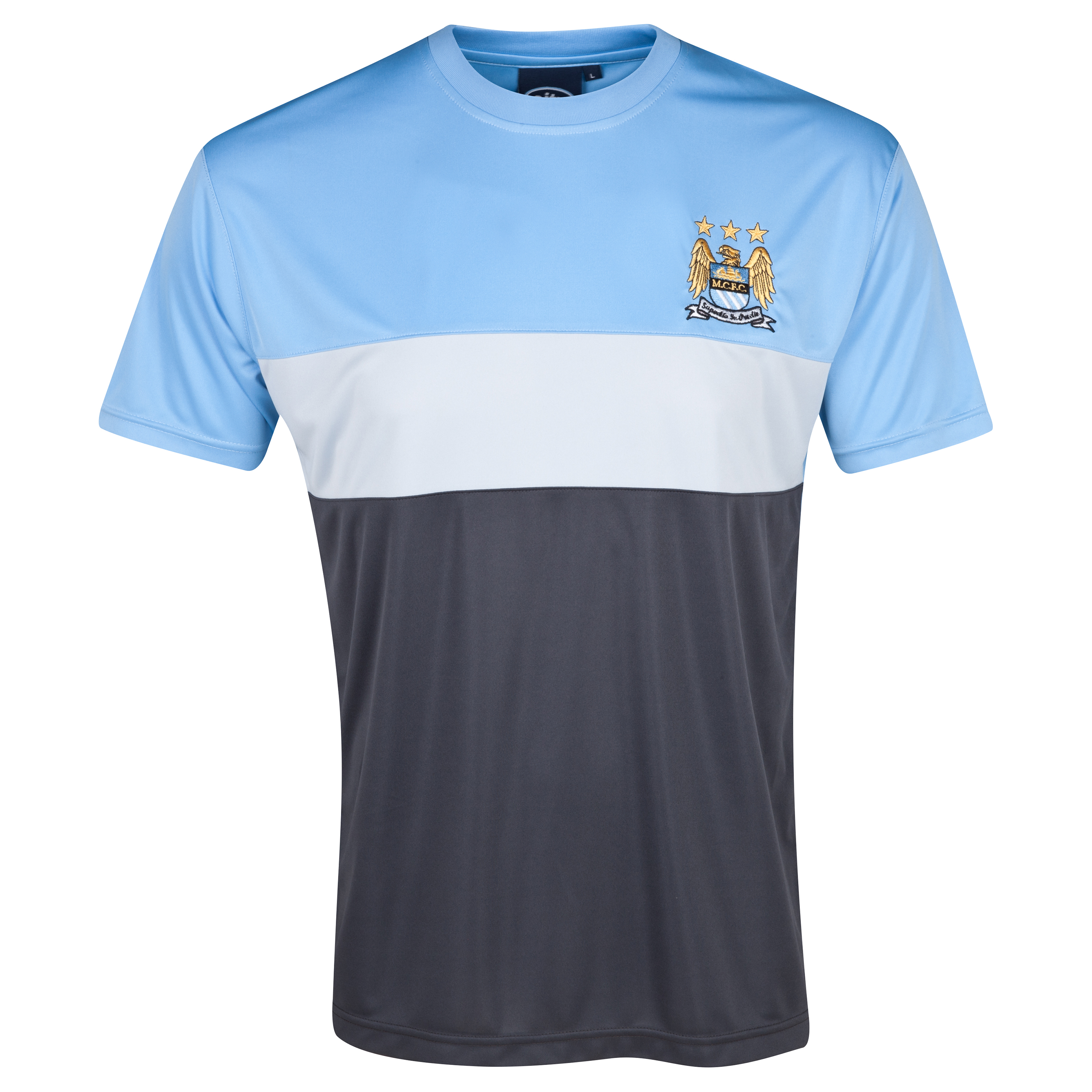 Manchester City Essentials Panels T-Shirt - Mens Lt Blue