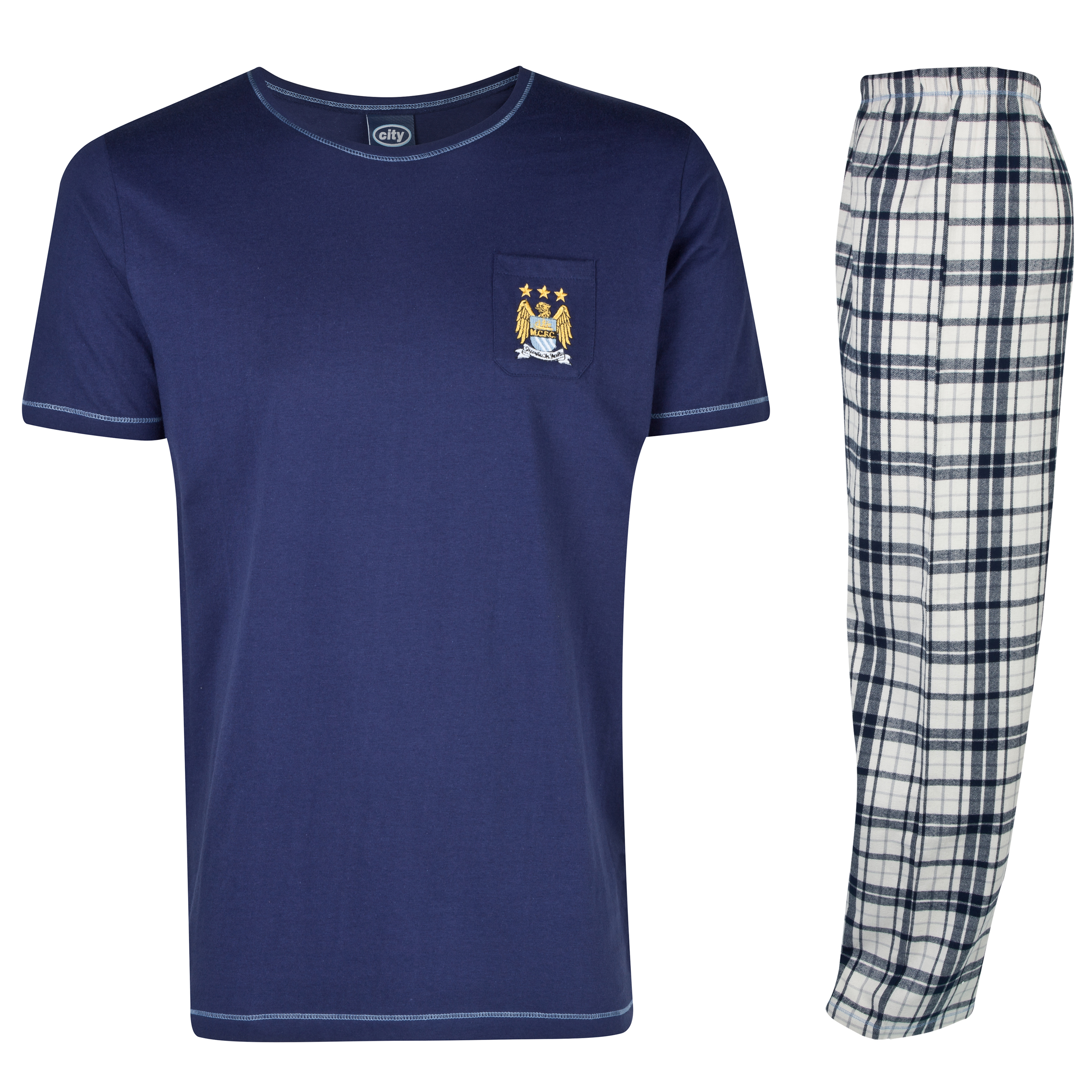 Manchester City Check Pyjamas Mens Navy