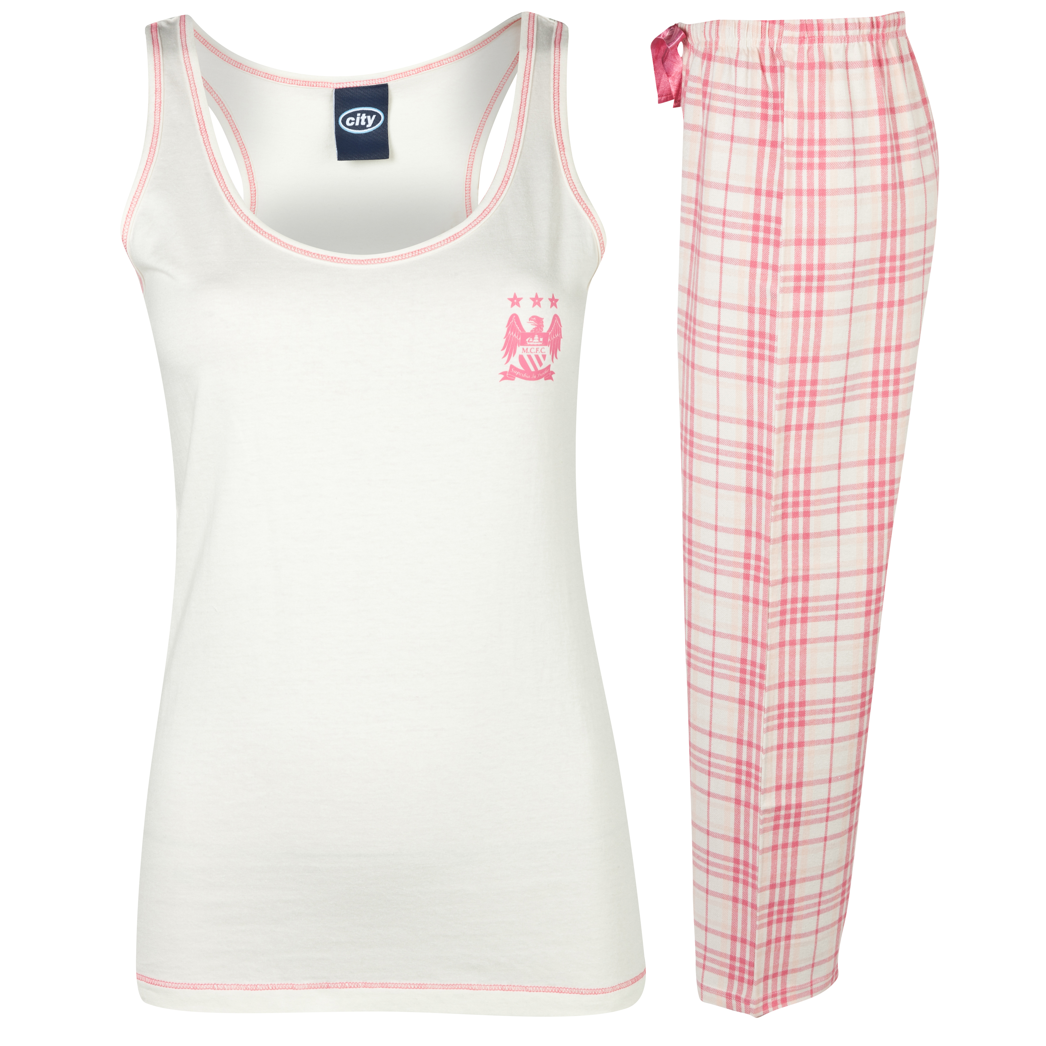 Manchester City Check Pyjamas Womens Pink