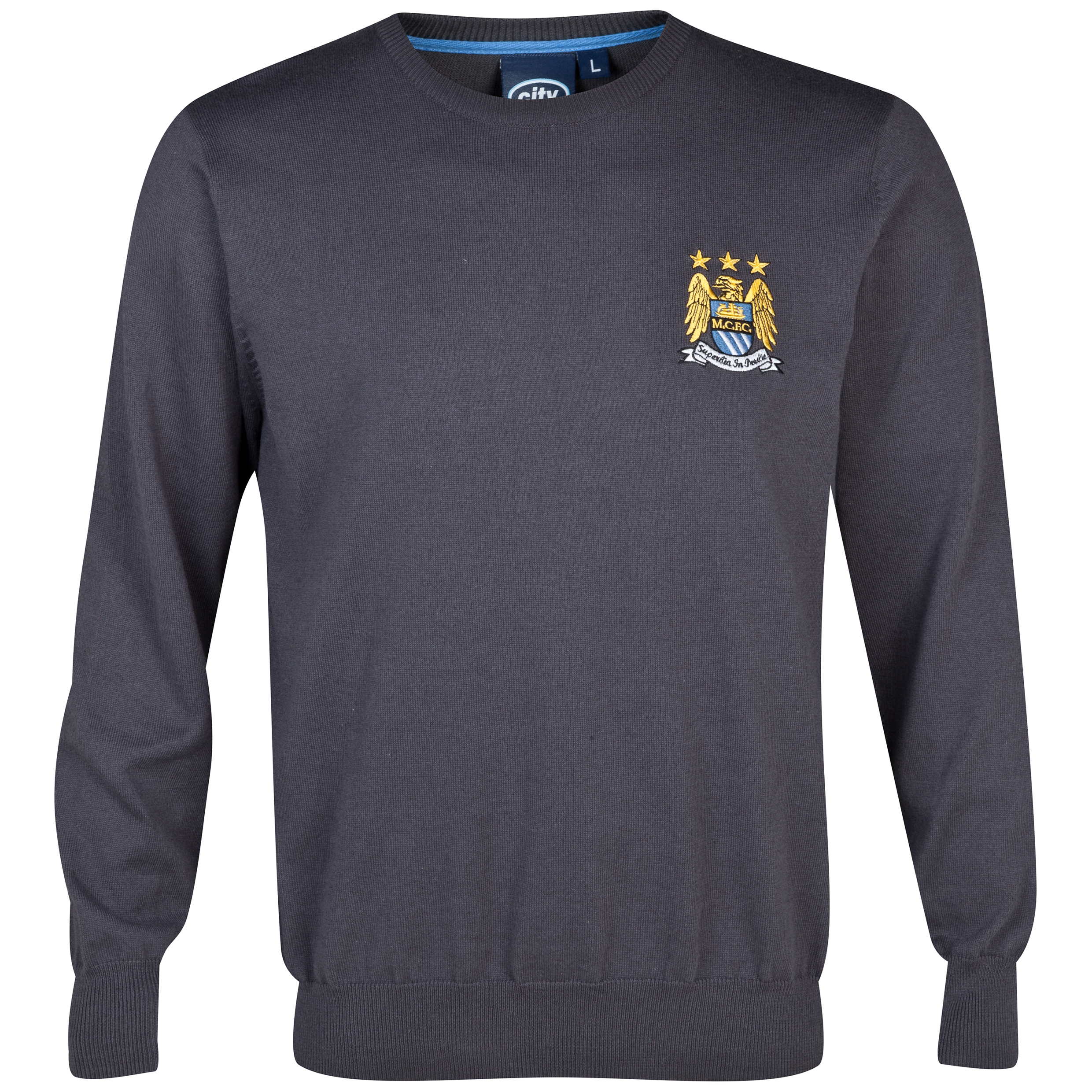 Manchester City Essentials Yarn Crew Neck Jumper Charcoal