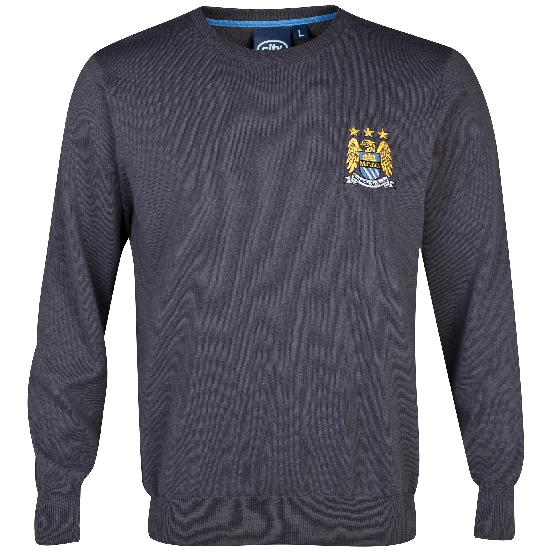 Manchester City Essentials Yarn Crew Neck Jumper Charcoal