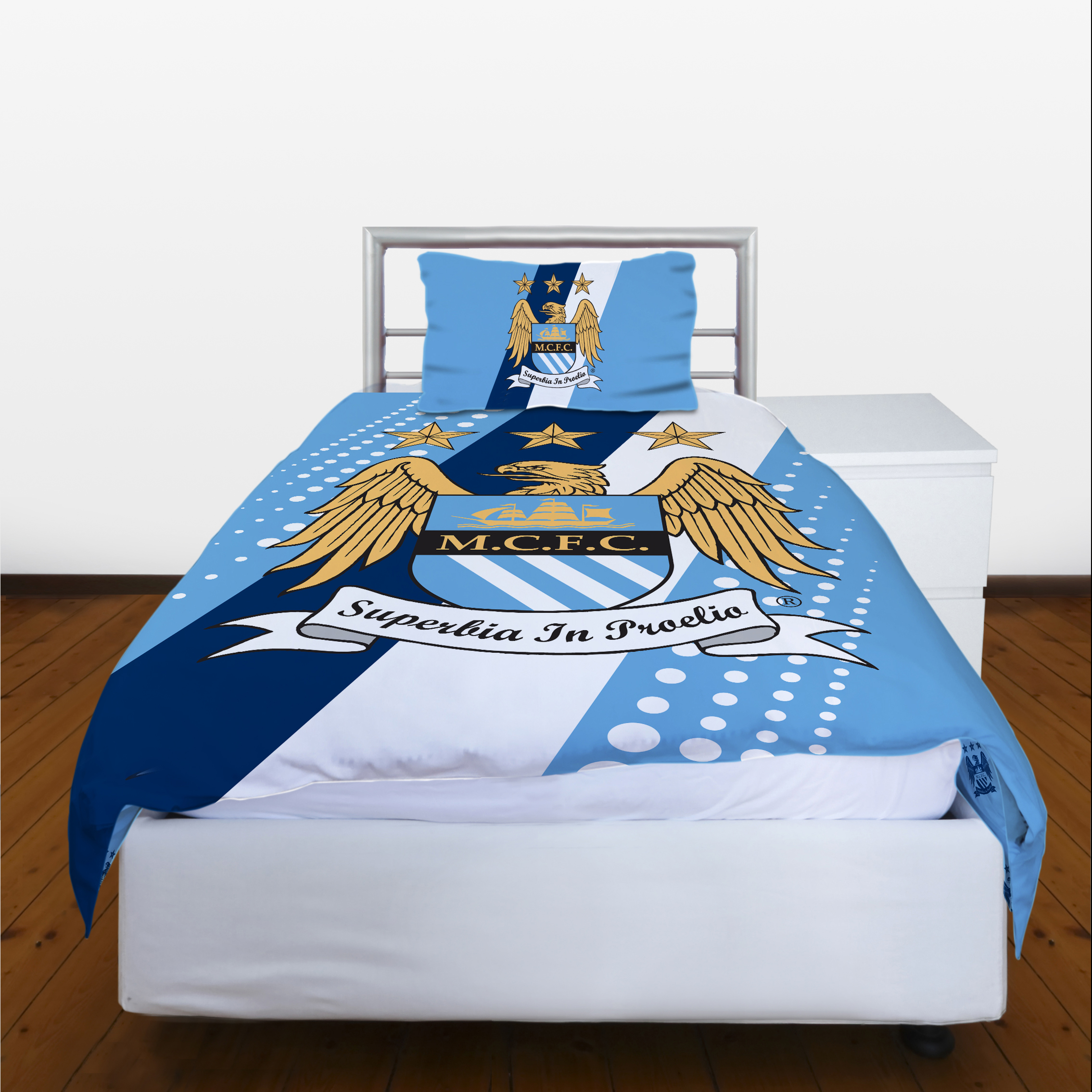 Manchester City Crest Stripe Single Duvet