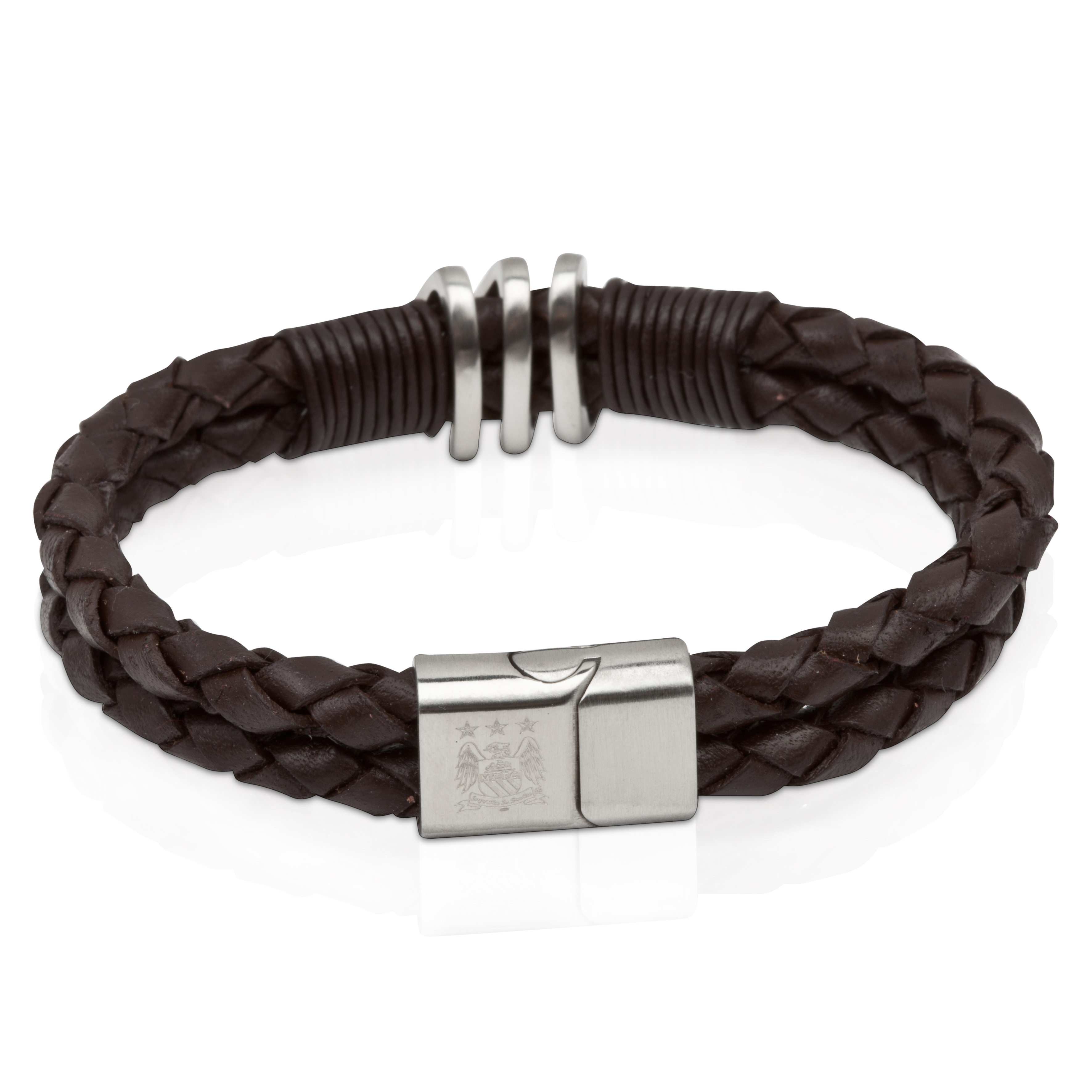 Manchester City Leather Platted & Stainless Steel Bracelet