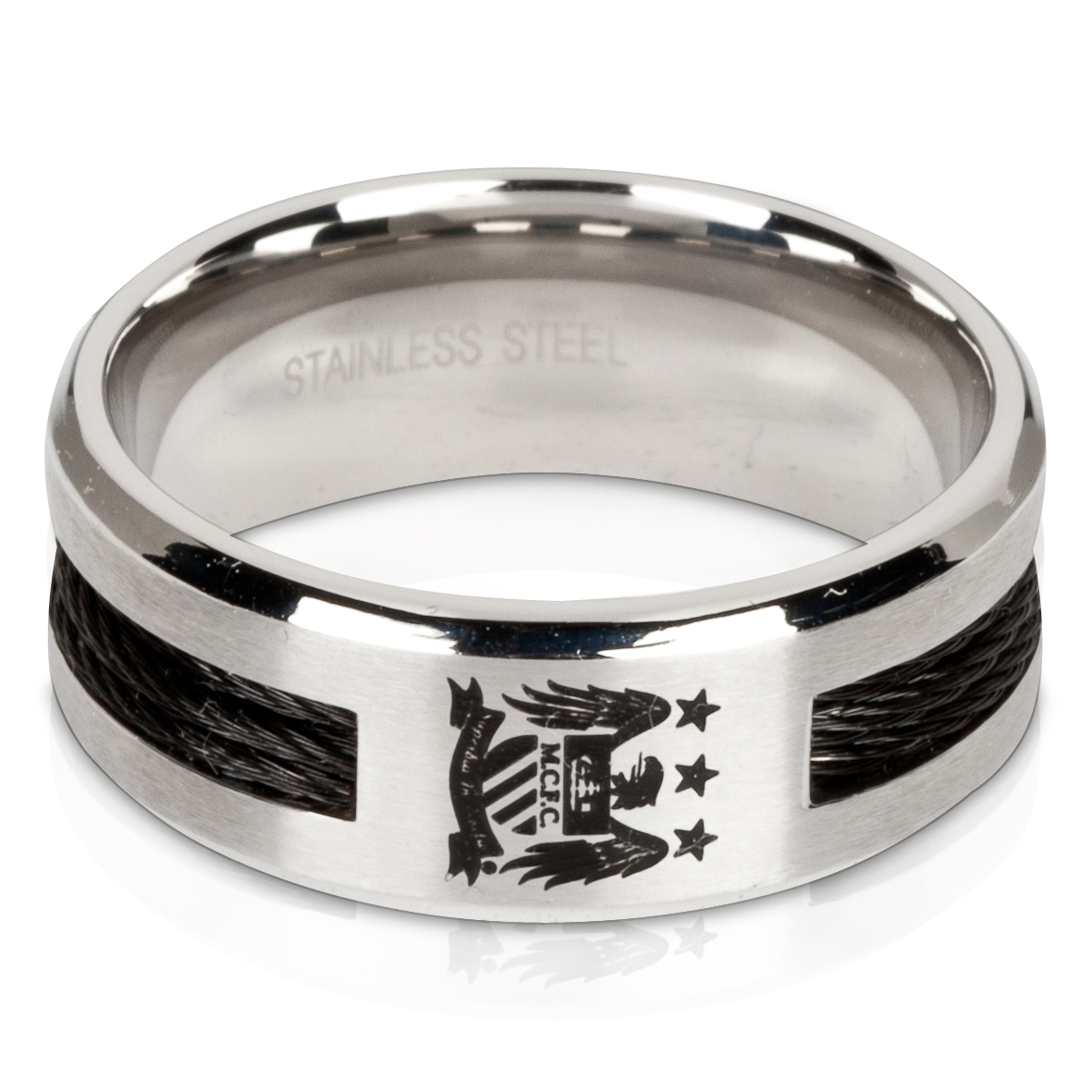Manchester City Stainless Steel Black Inlay 10mm Band Ring