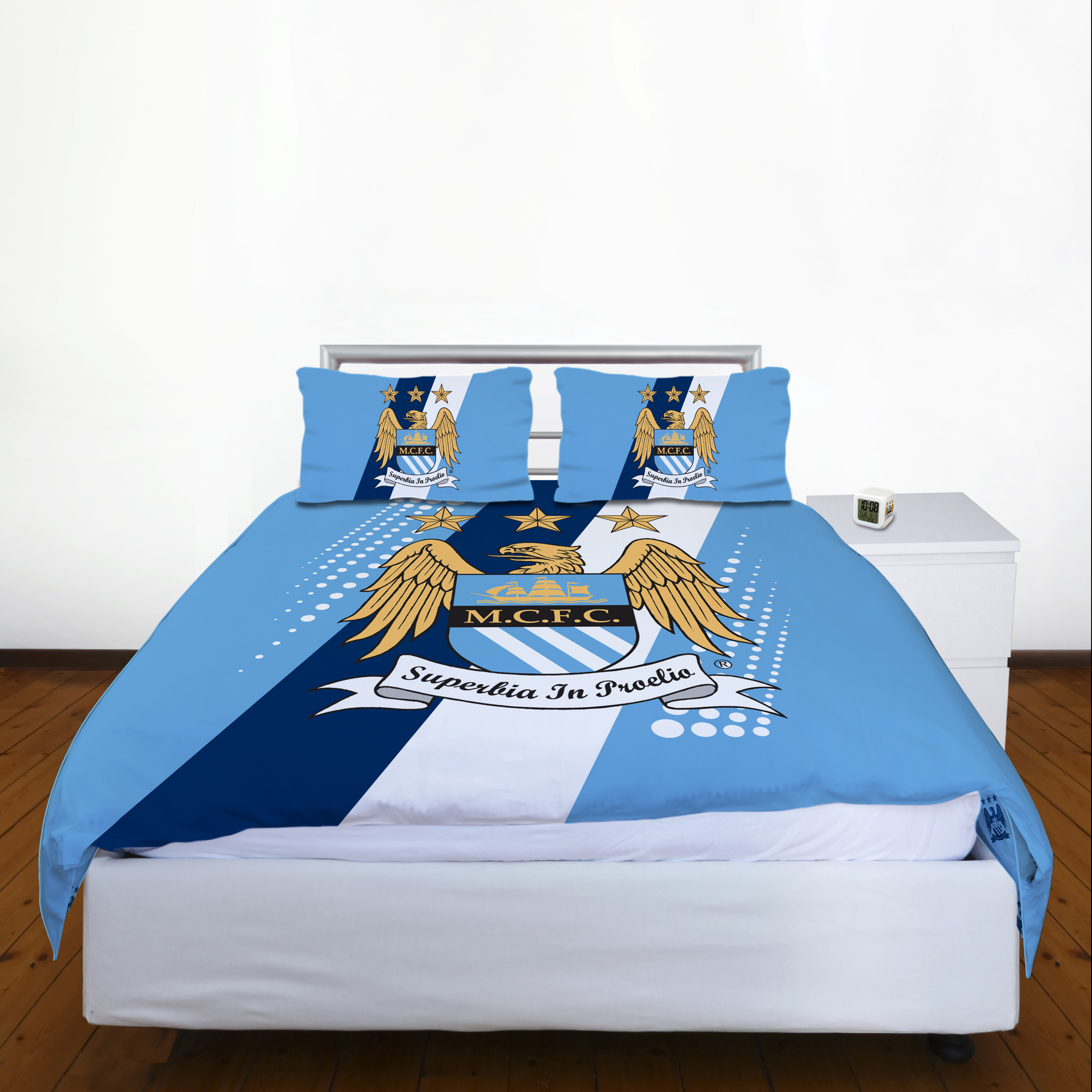 Manchester City Crest Stripe Double Duvet