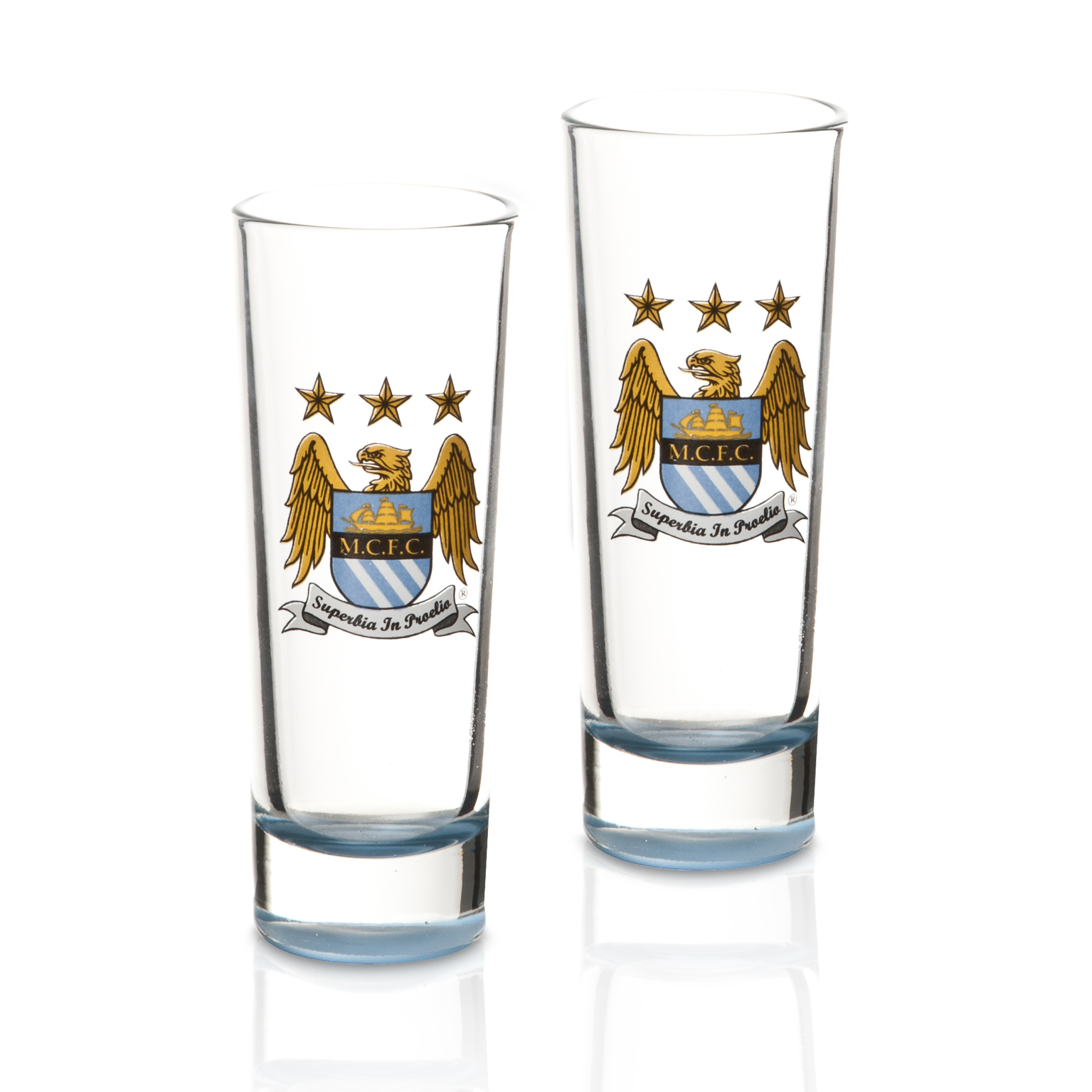 Manchester City 4 Pack Double Shot Glasses