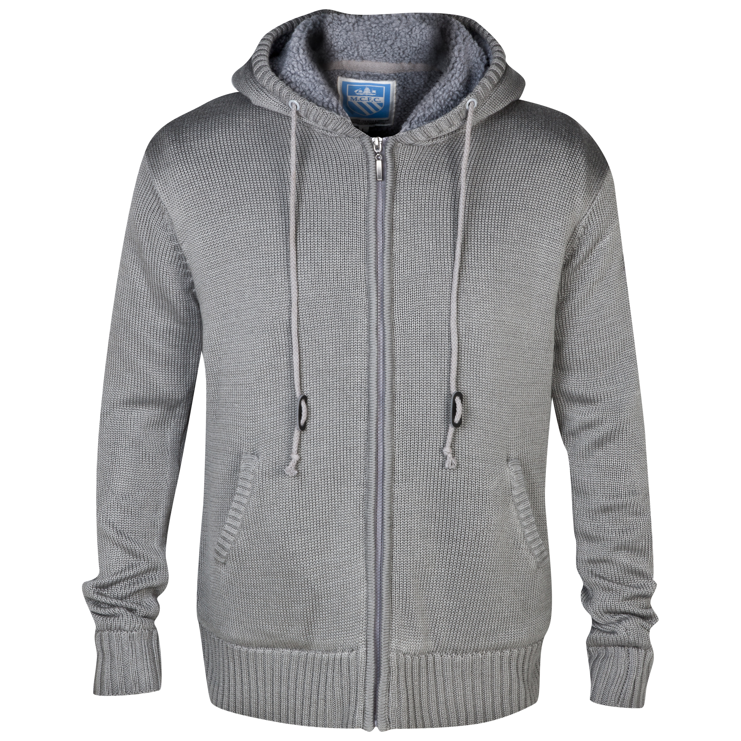 Manchester City Davis Knit Hoodie - Mens Grey