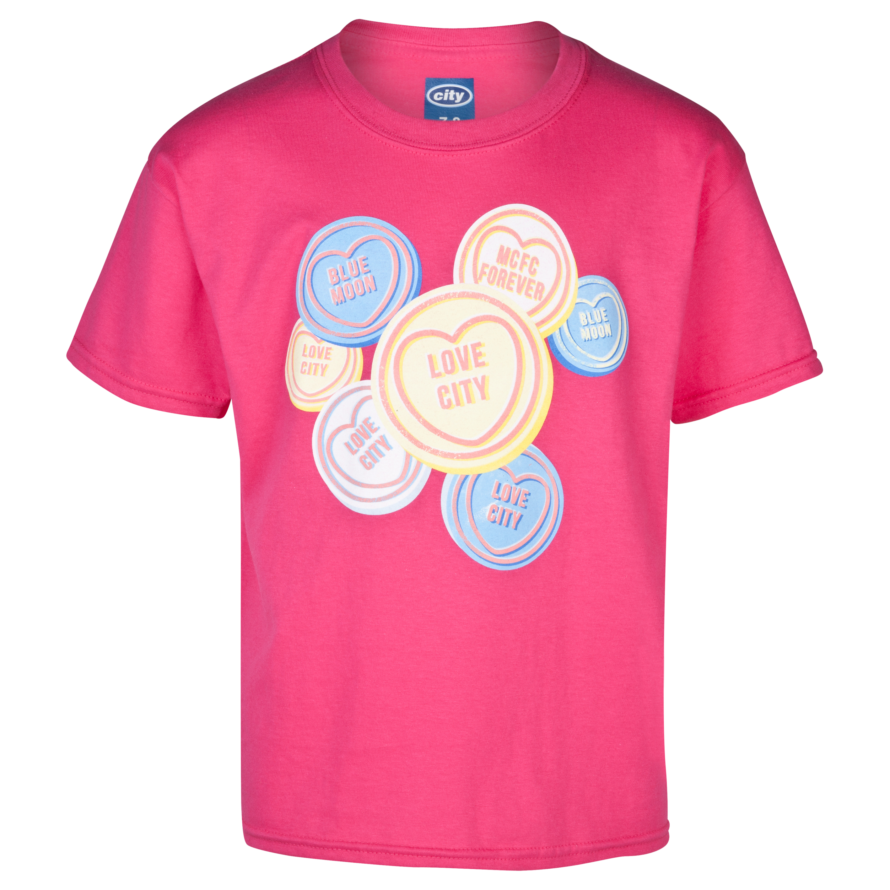 Manchester City 2for?15 Sweetheart T-Shirt - Junior Pink