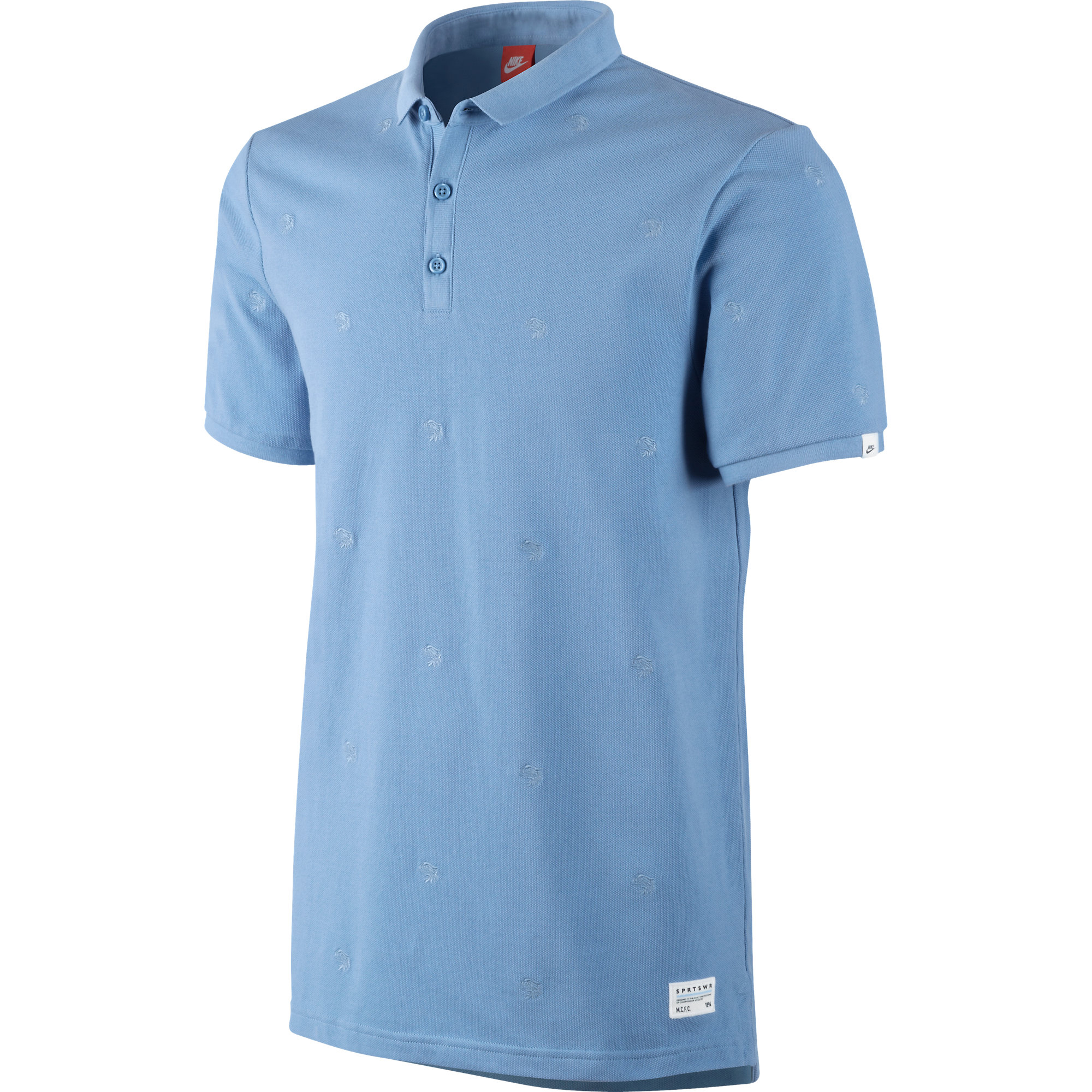 Manchester City Covert Embroidered Polo - Mens Lt Blue
