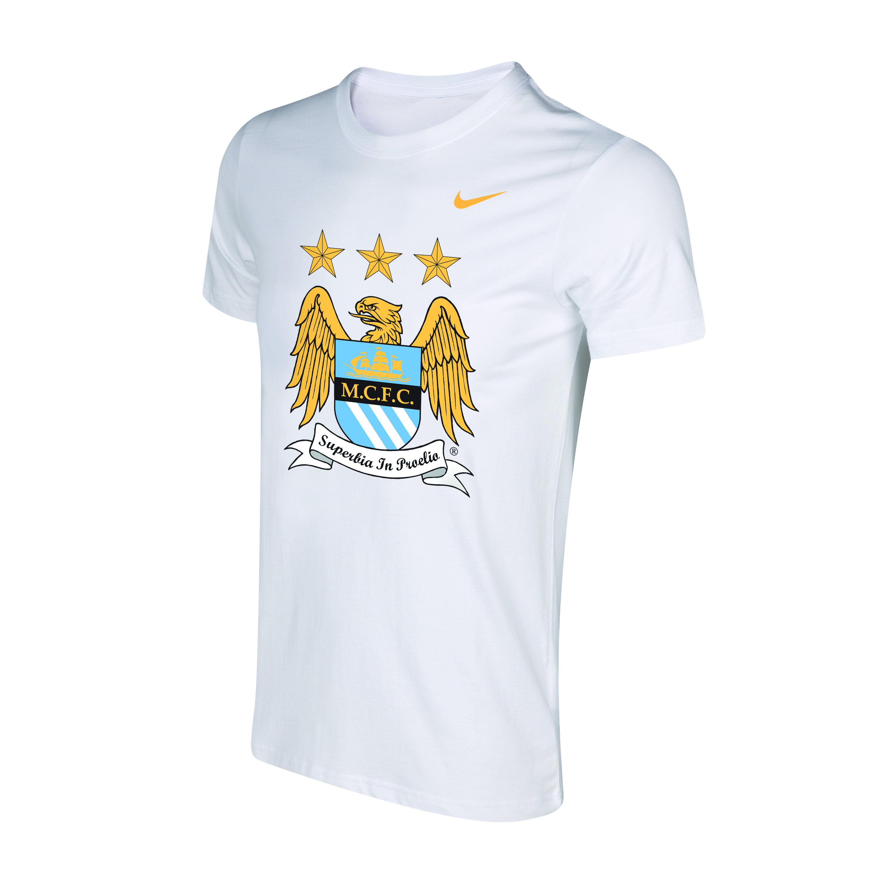 Manchester City Core Crest T-Shirt - Mens White