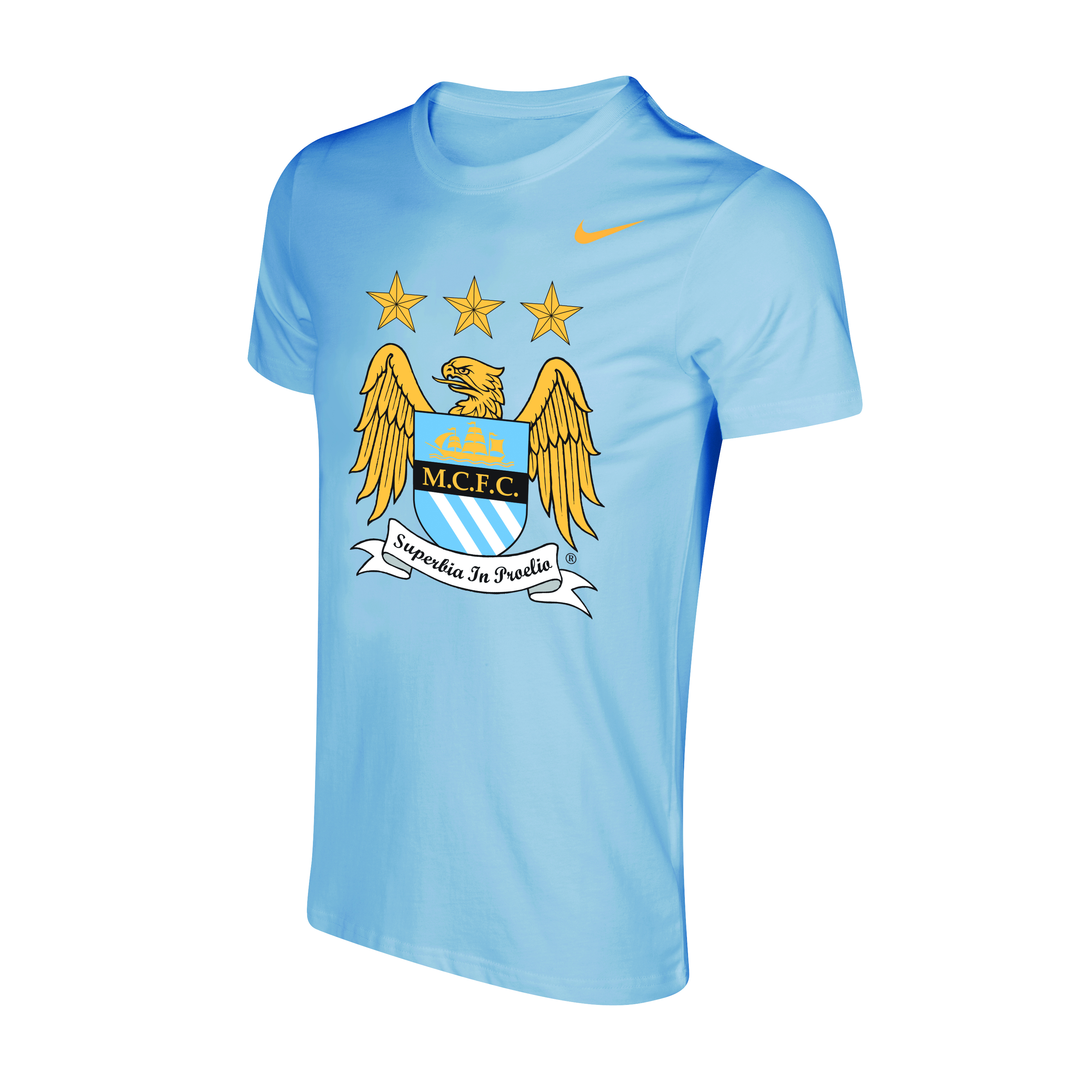 Manchester City Core Crest T-Shirt - Mens Blue
