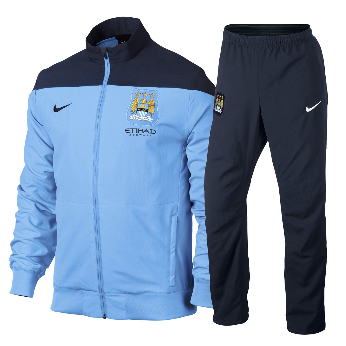 Manchester City Sideline Woven Tracksuit - Junior Blue