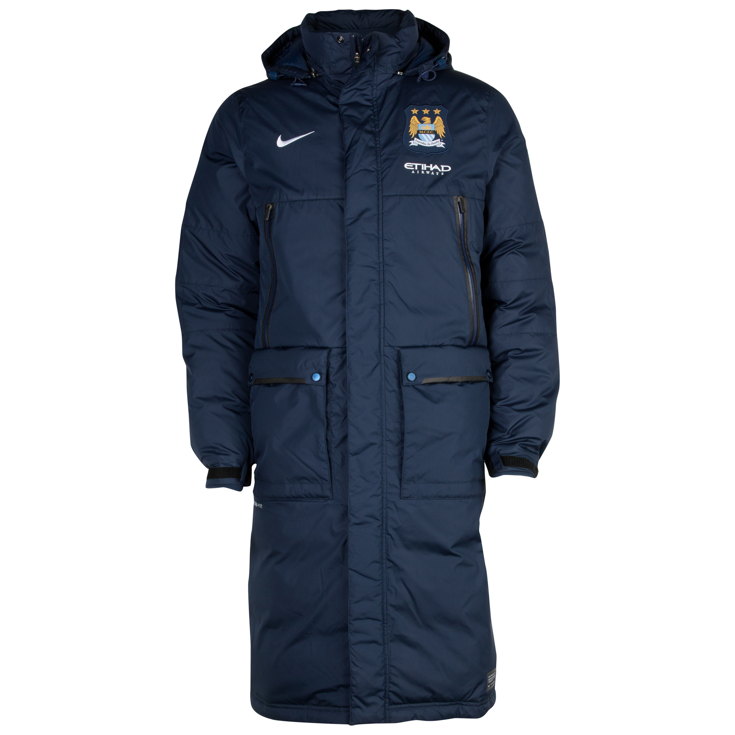 Manchester City Select Down Longer Jacket - Mens Navy