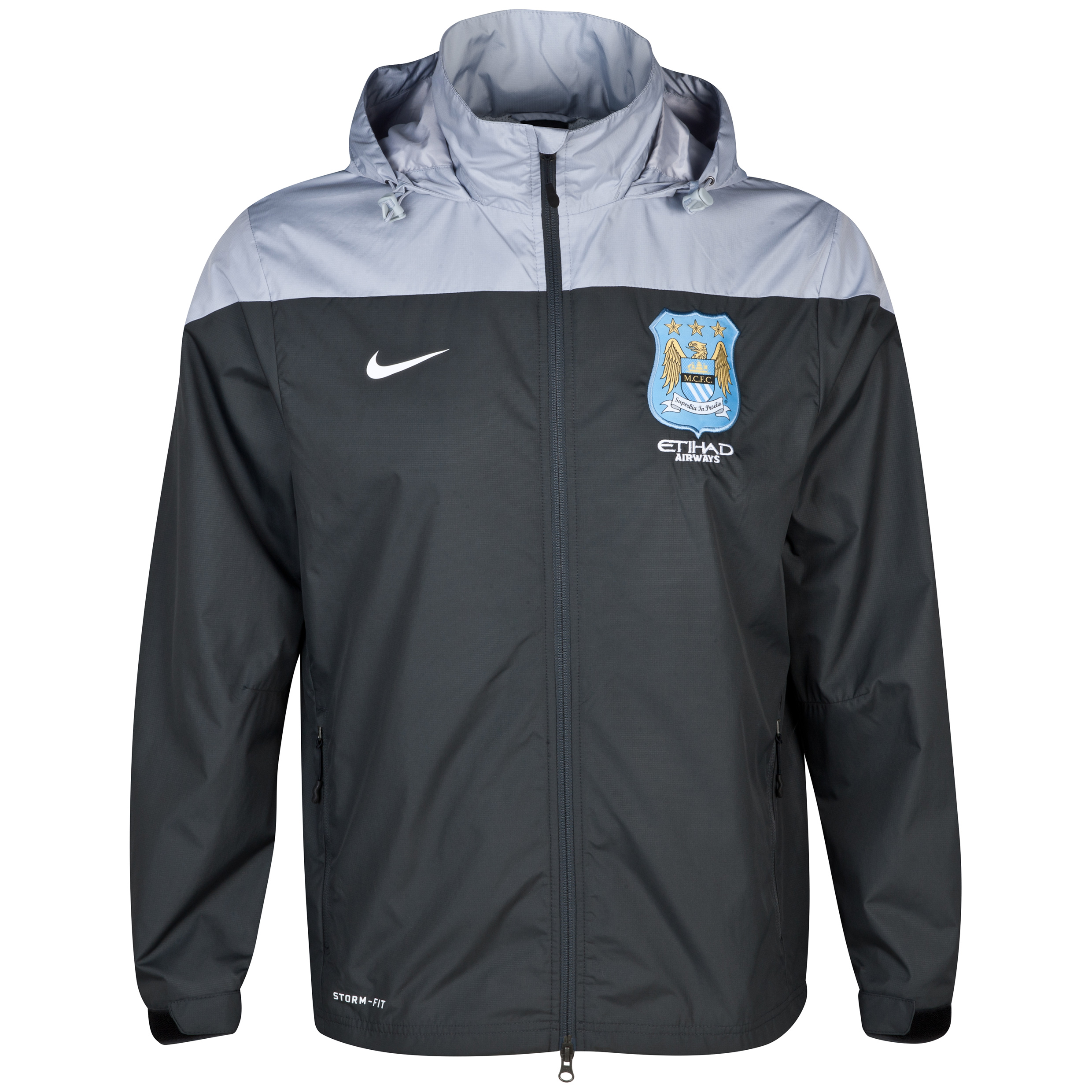 Manchester City Squad Rain Jacket - Mens Black