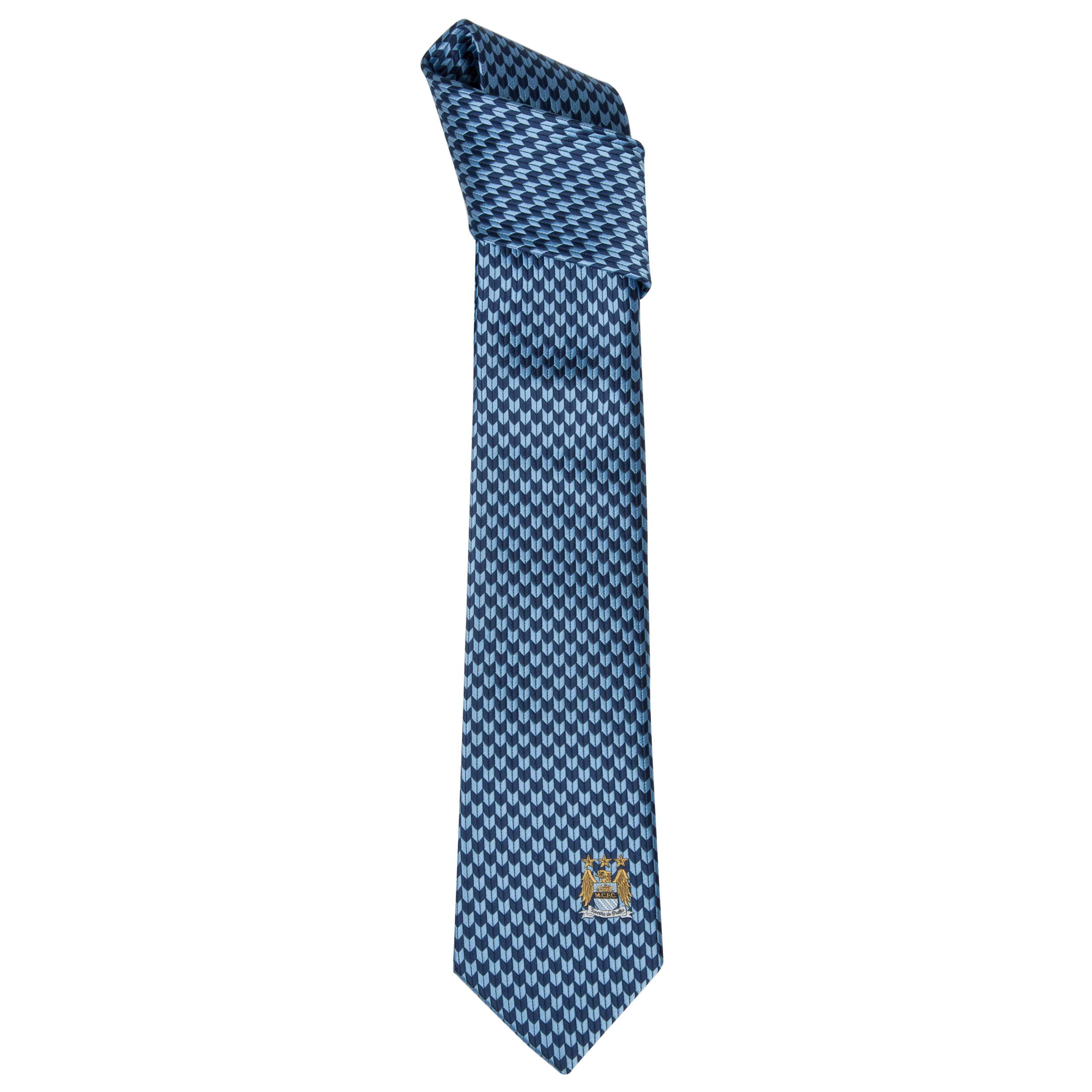 Manchester City Polyester Geometric Sky and Navy Tie Grey