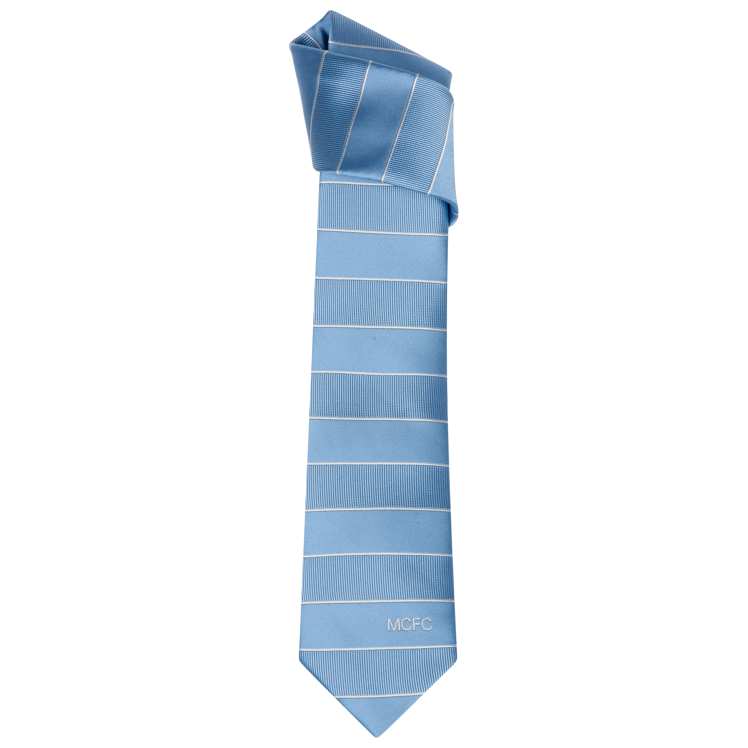 Manchester City Polyester Block Stripe Tie Grey