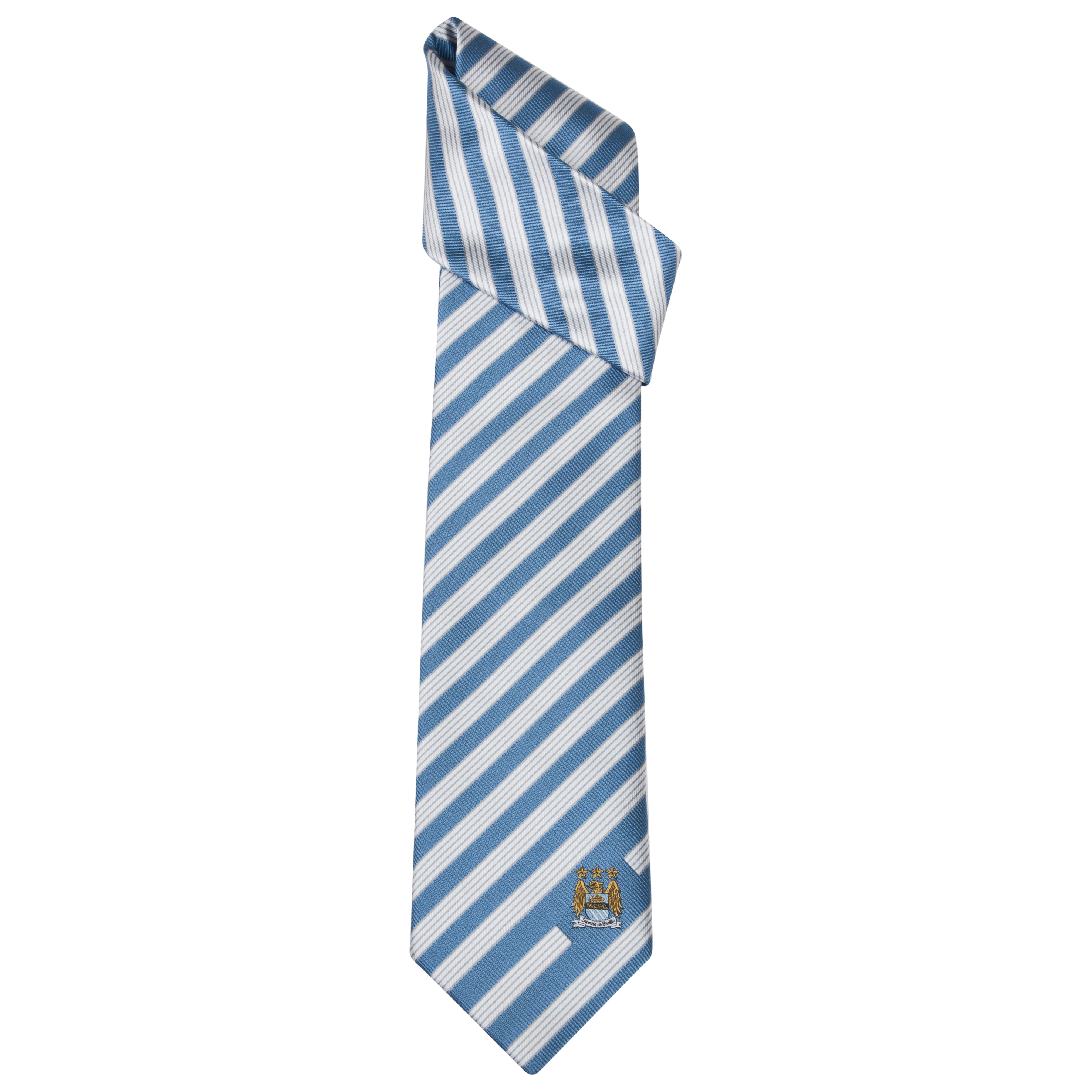 Manchester City Silk Stripe Tie Sky Blue