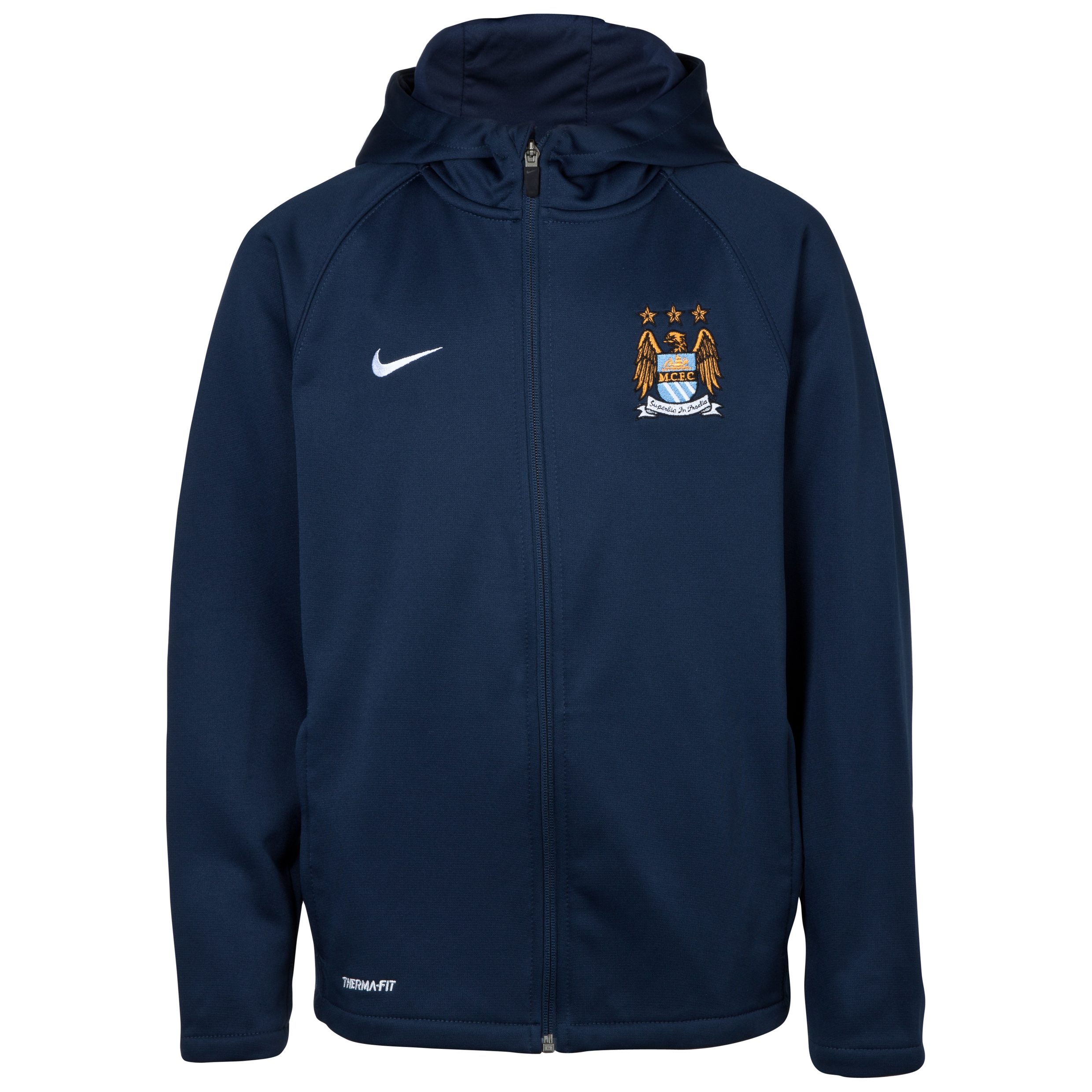 Manchester City Therma Full Zip Hoodie - Junior - Obsidian Blue