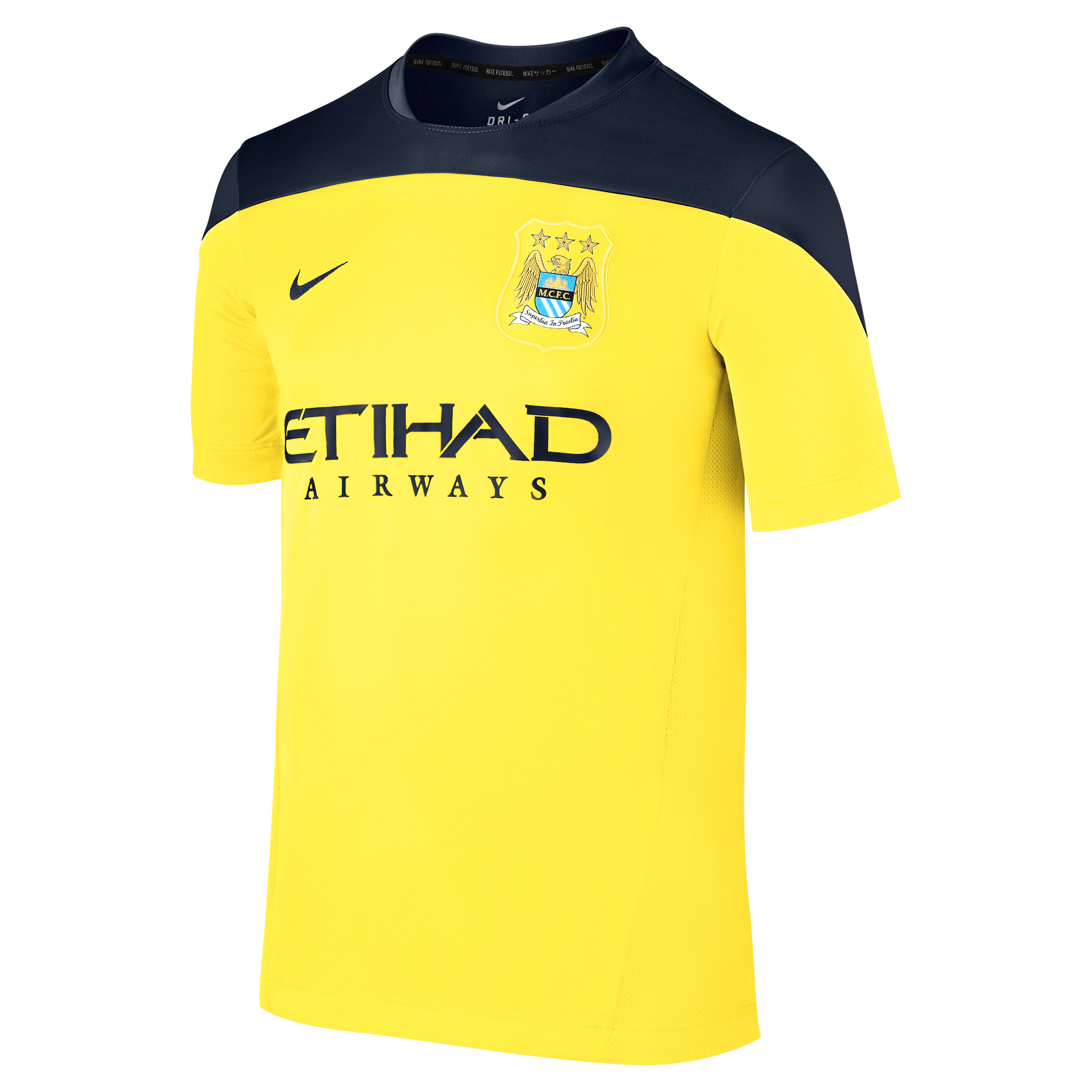 Manchester City Squad Short Sleeve Training Top Yellow