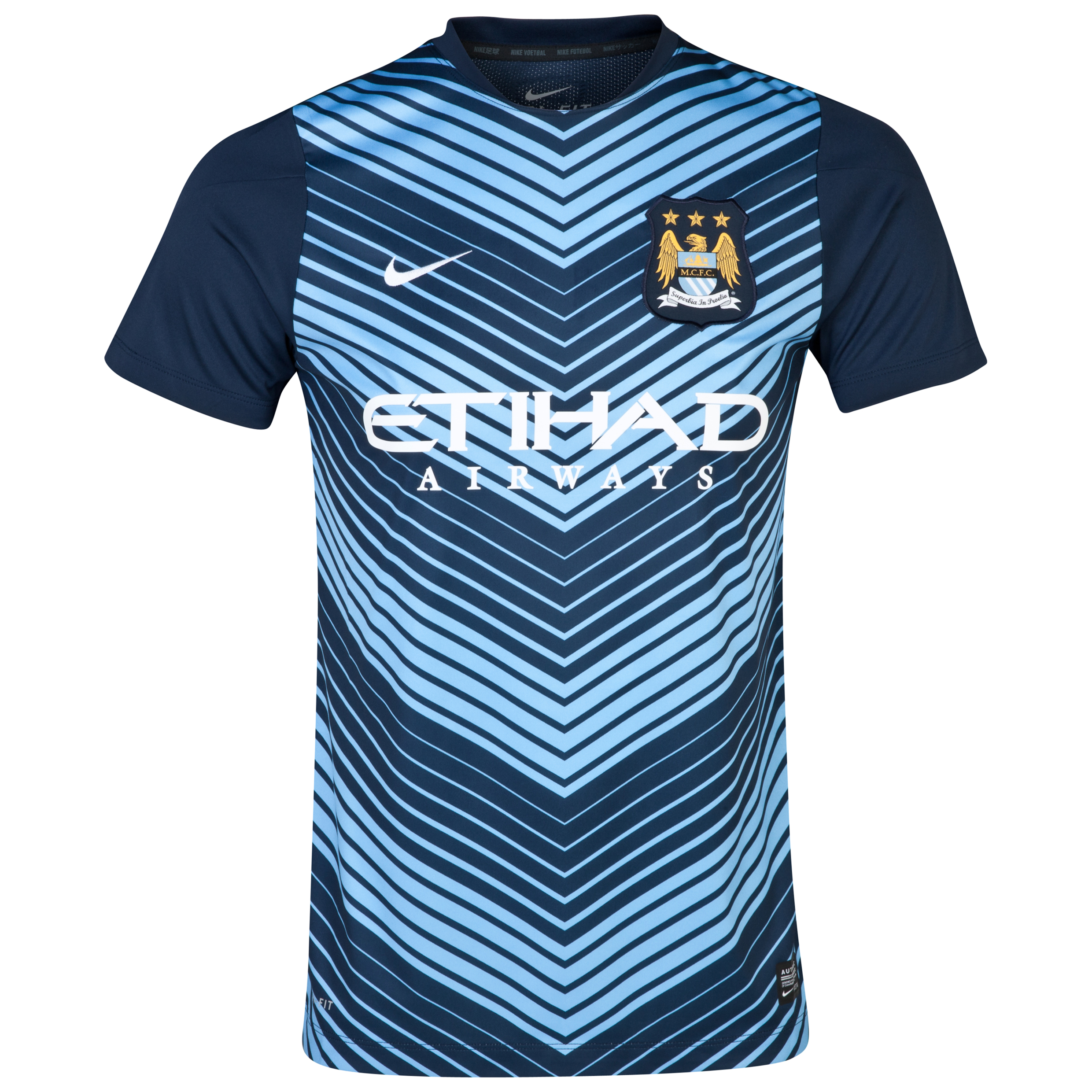 Manchester City Squad Short Sleeve Pre Match Top Blue