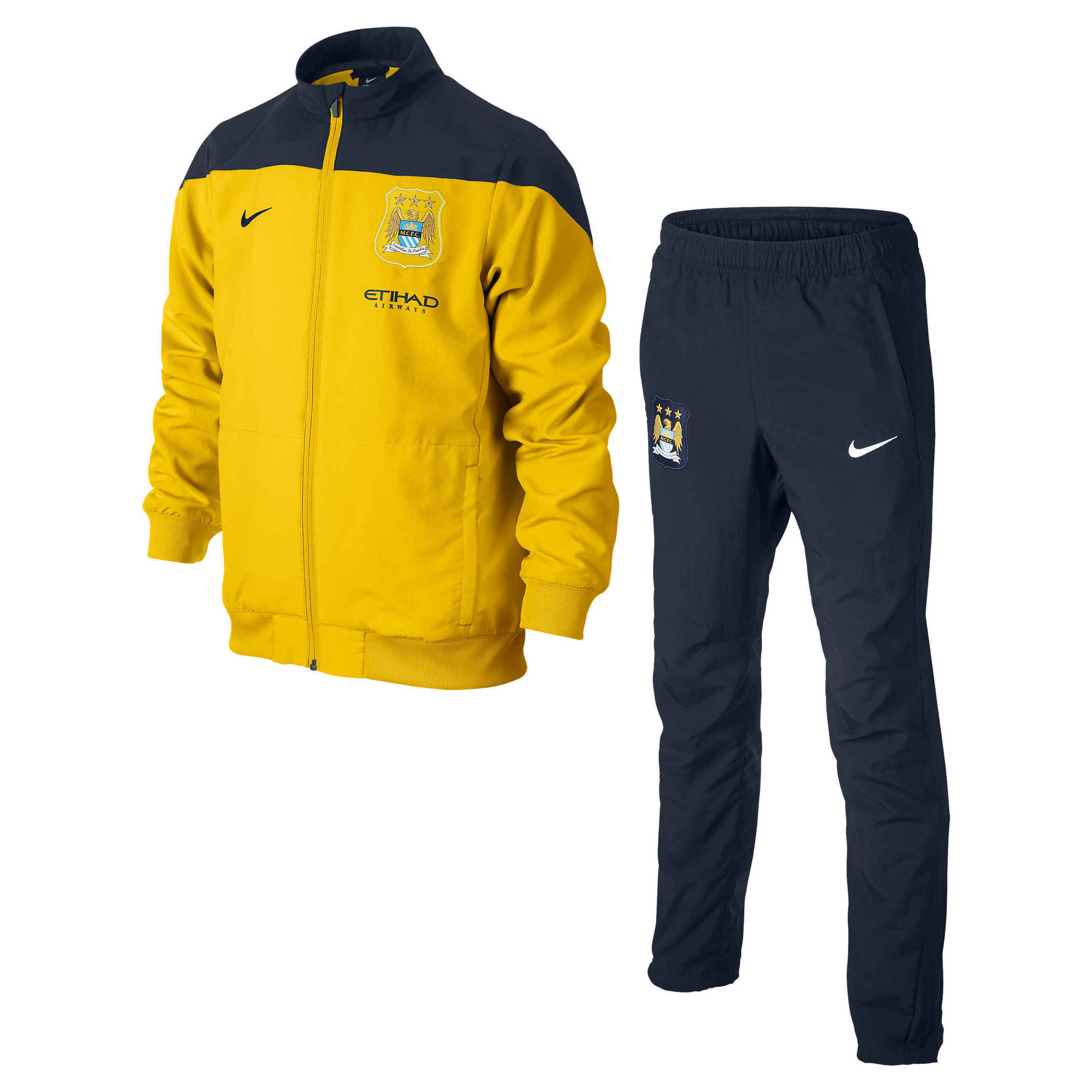 Manchester City Squad Sideline Woven Warm Up Tracksuit - Kids Yellow