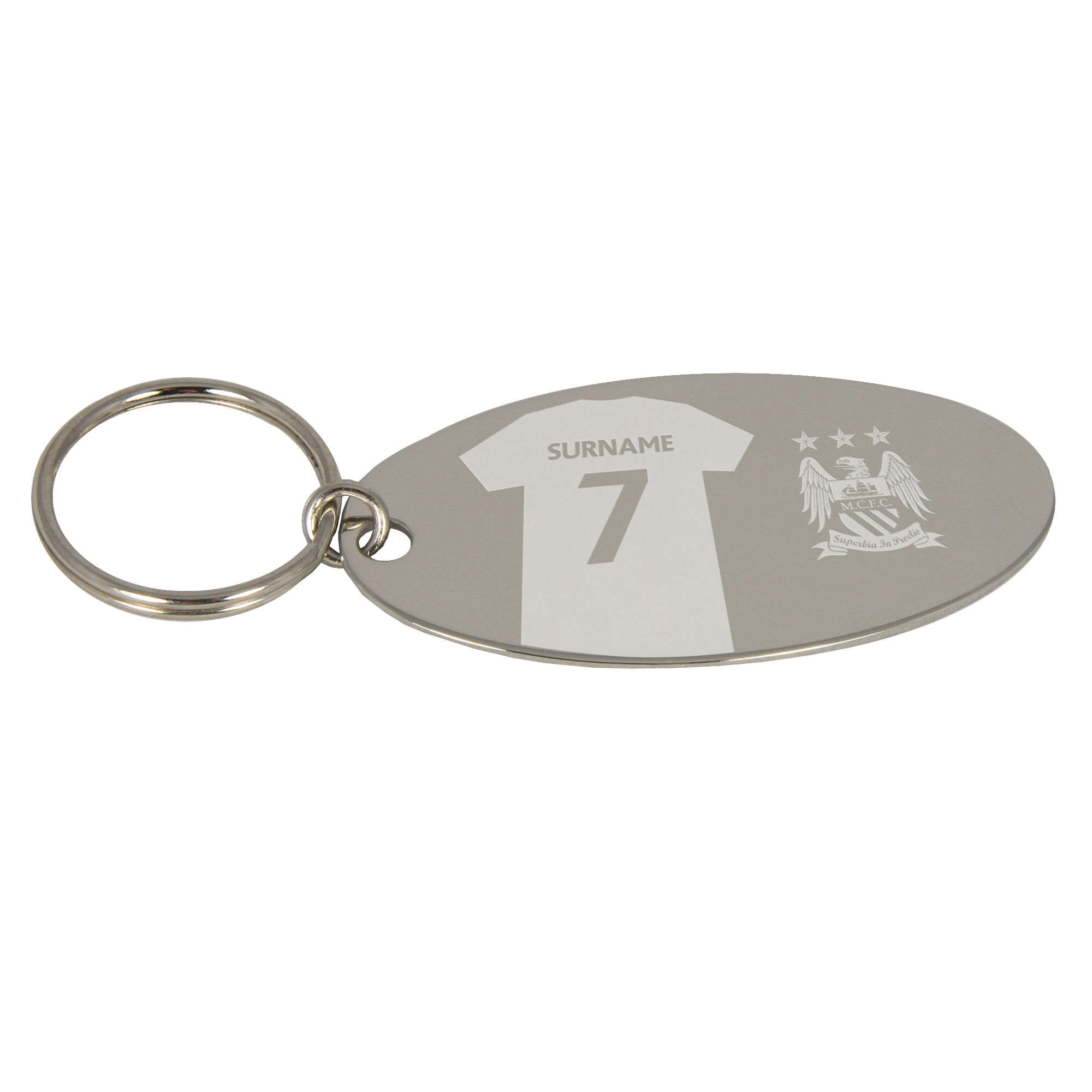 Manchester City Personalised Oval Keyring