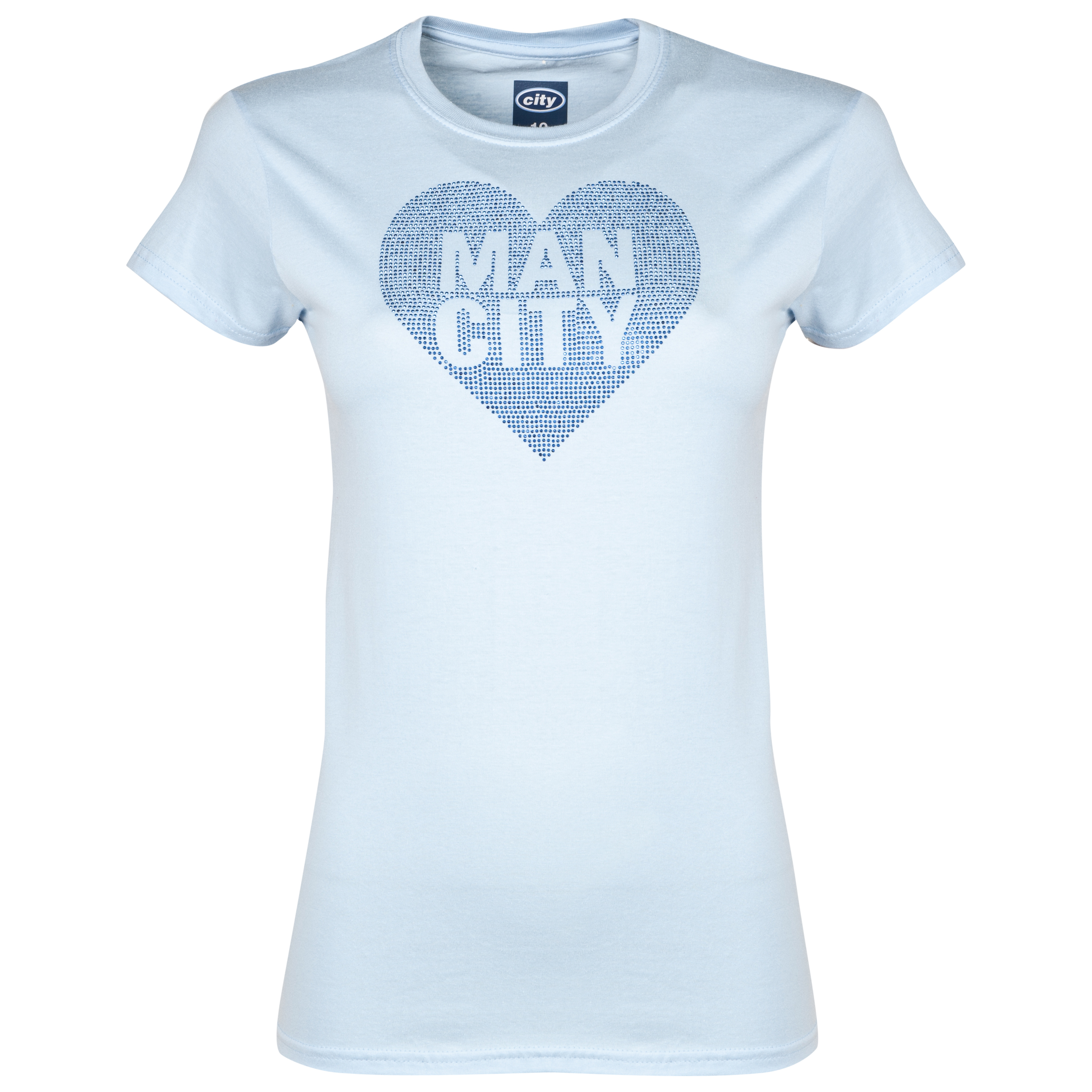 Manchester City Rhinestone T-Shirt Womens Sky Blue