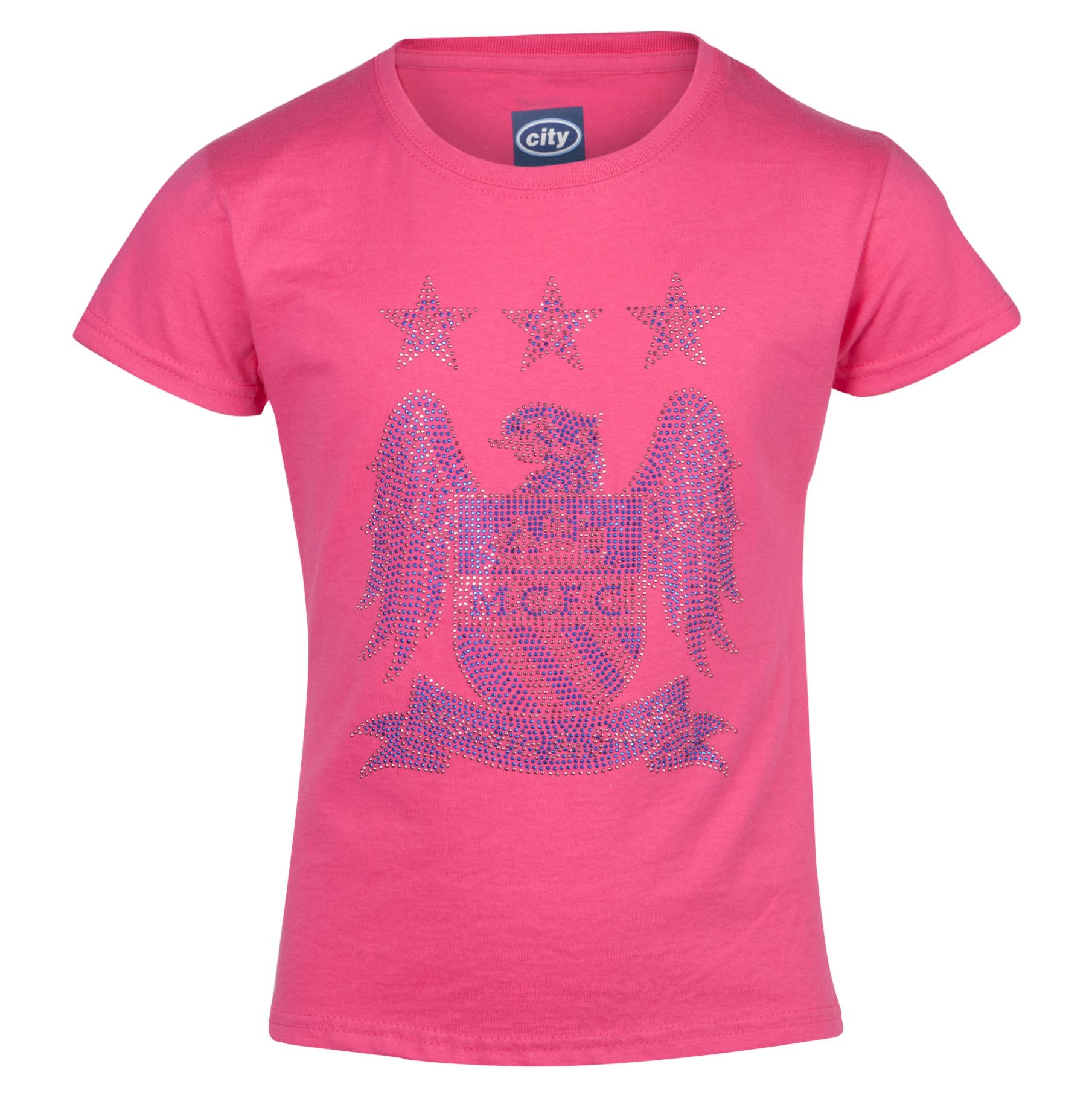 Manchester City Rhinestone TShirt -Girls Pink