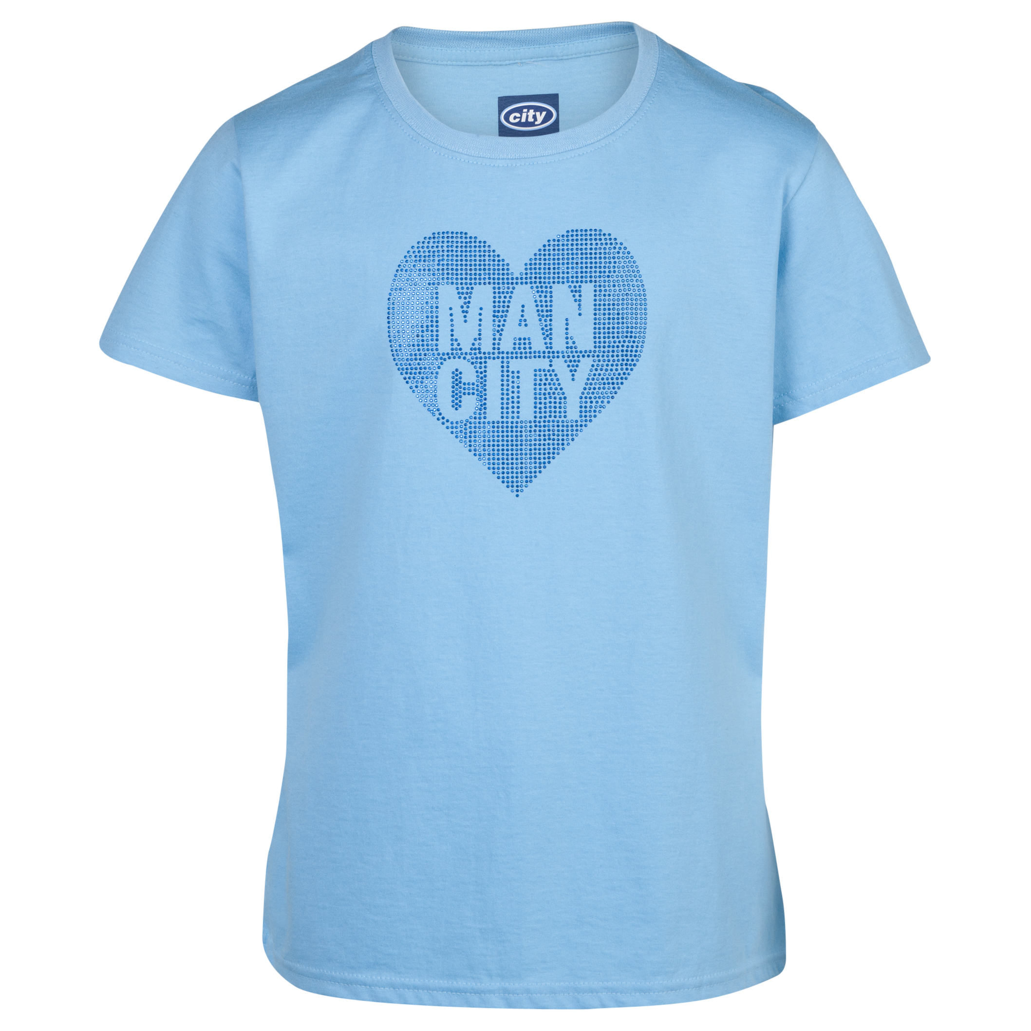 Manchester City Rhinestone TShirt -Girls Sky Blue