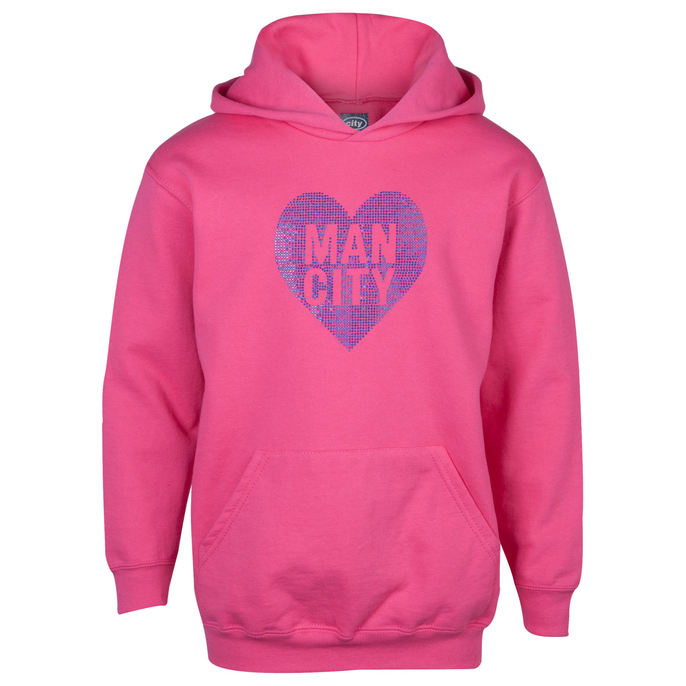 Manchester City Rhinestone Hoodie- Girls Pink