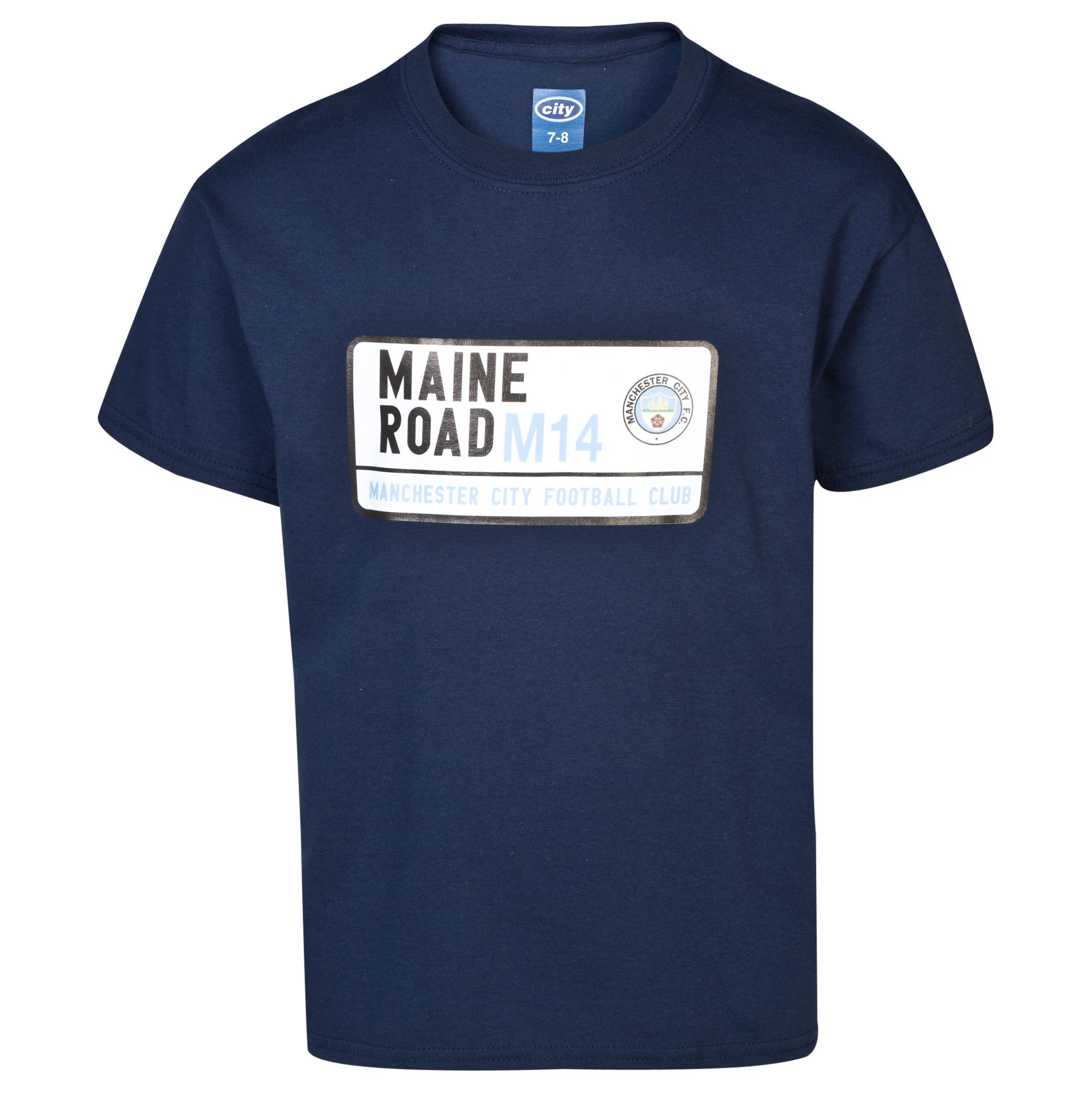 Manchester City 2 For 15 Maine T-Shirt- Junior Navy