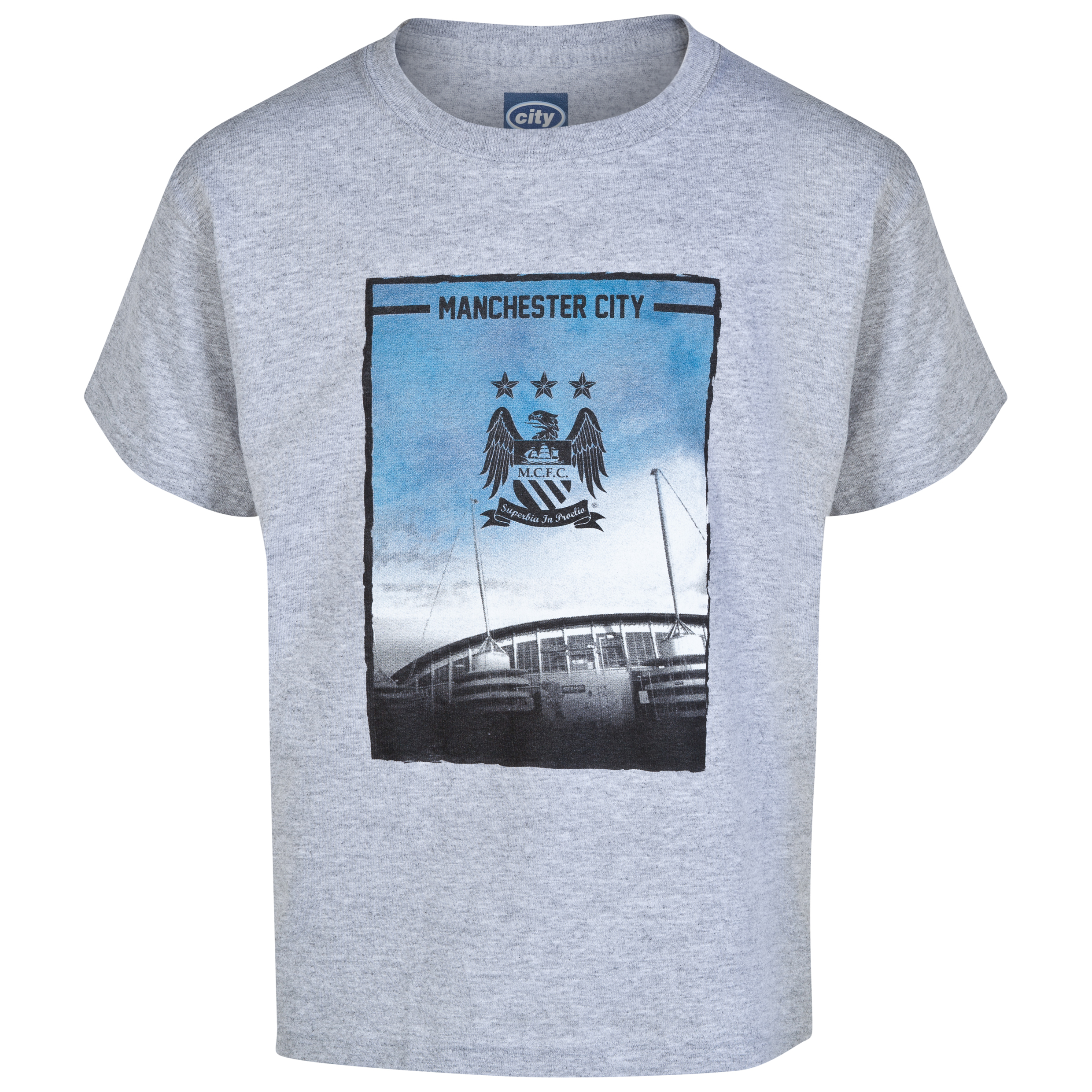 Manchester City 2 For T Stadium T-Shirt- Junior Grey