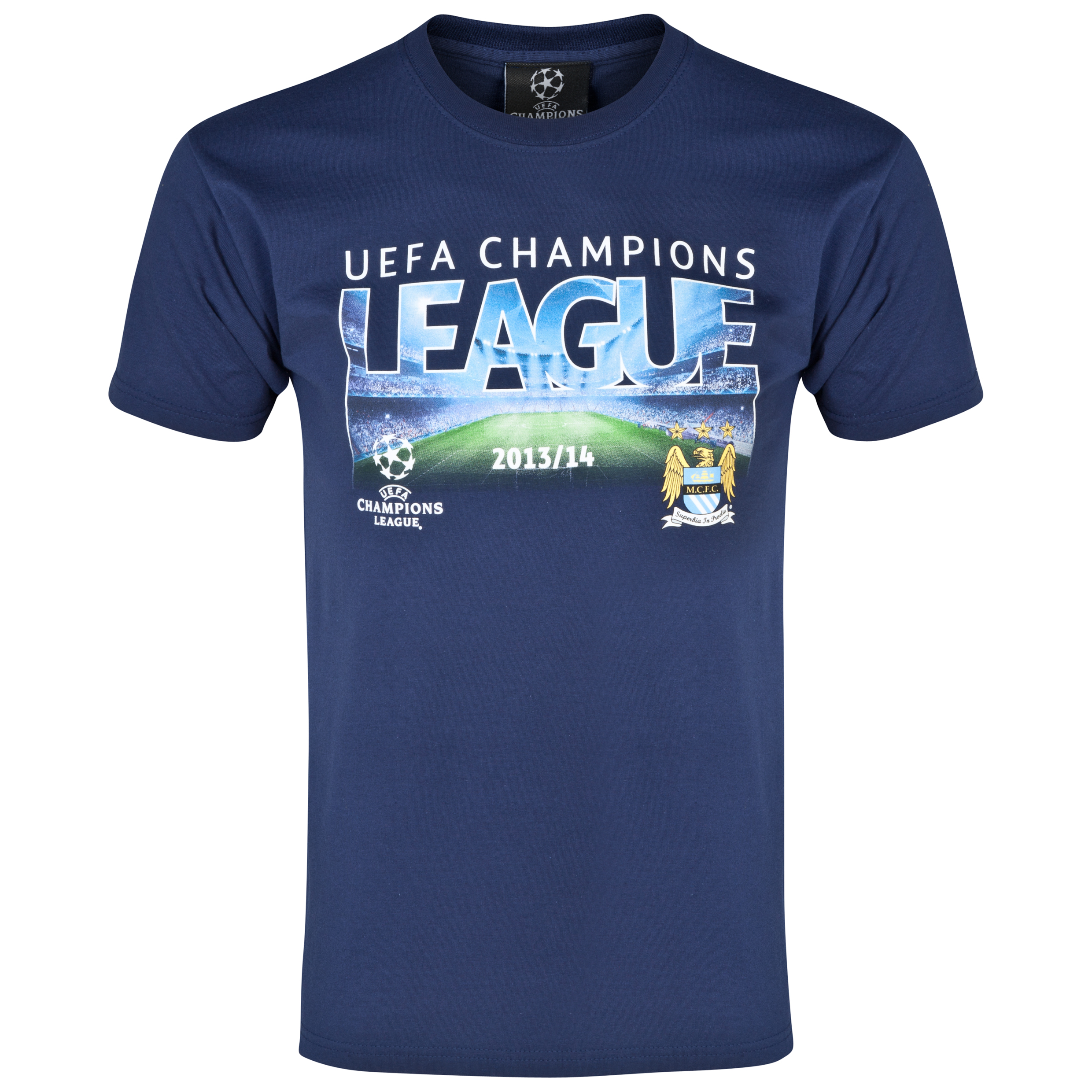 Manchester City UCL Graphic T-Shirt - Navy - Mens Navy