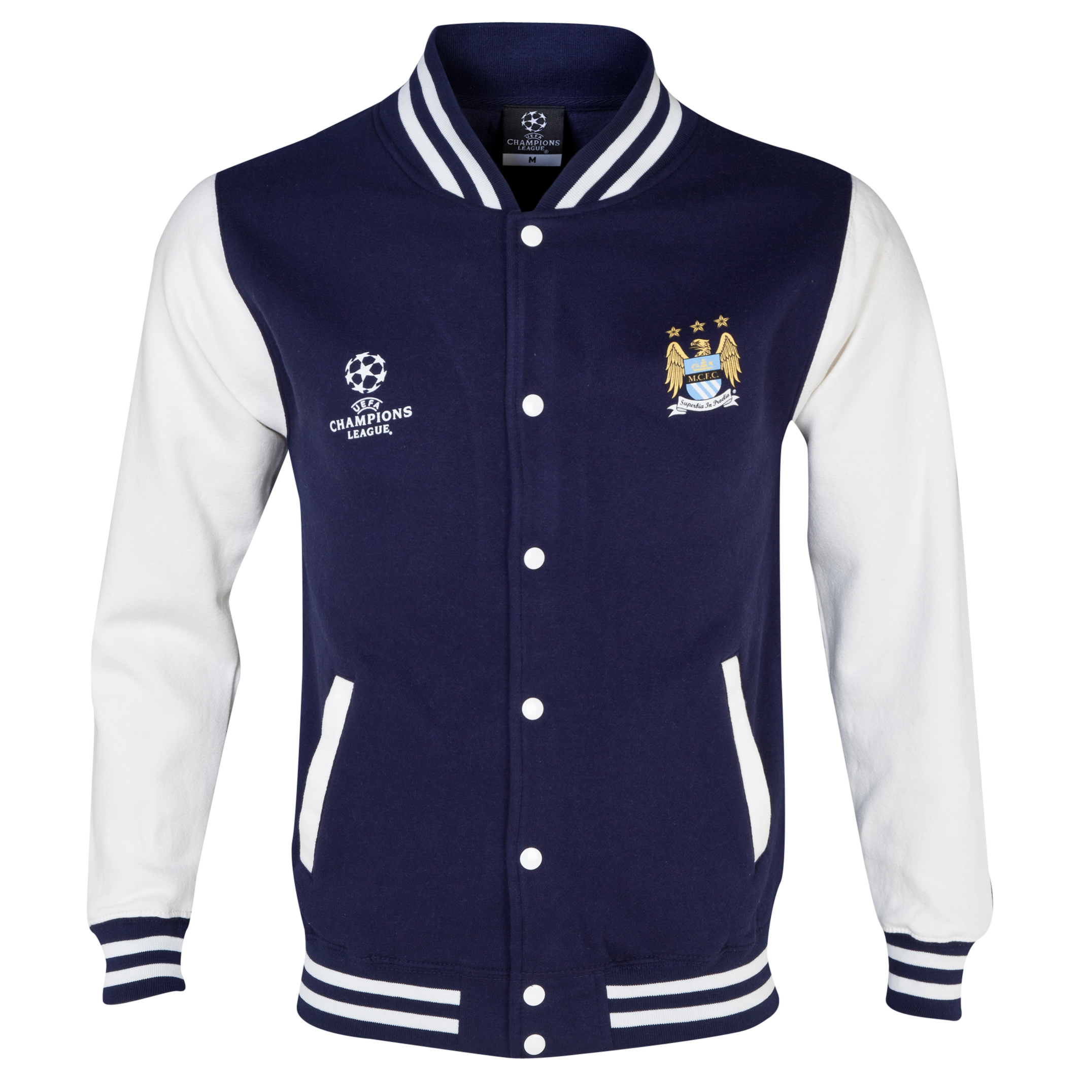 Manchester City UEFA Champions League Varsity Baseball Jacket Navy