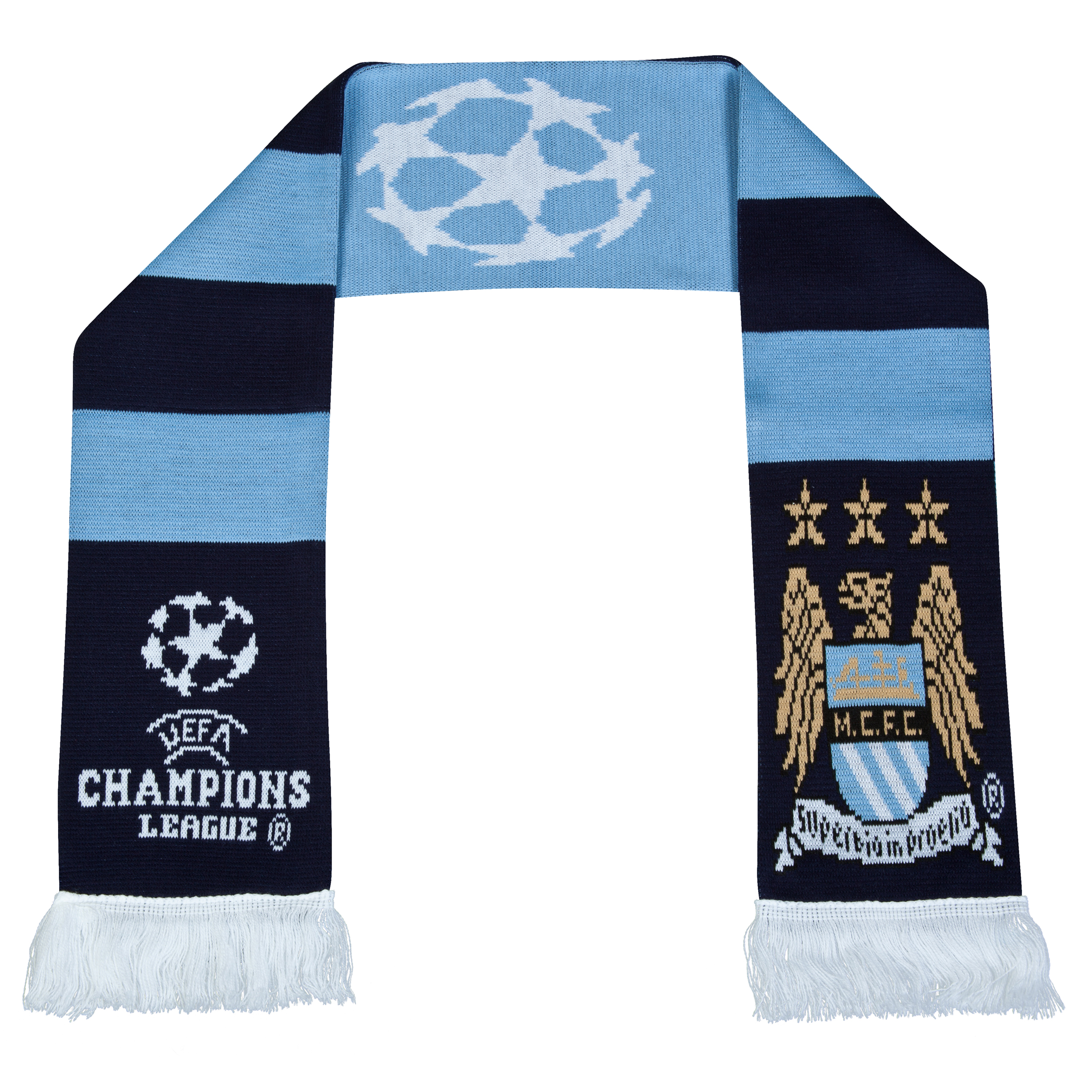 Manchester City UEFA Champions League Retro Bar Scarf Blue