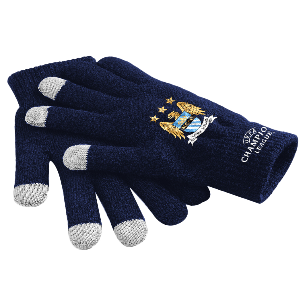 Manchester City UEFA Champions League Touch Screen Gloves Navy
