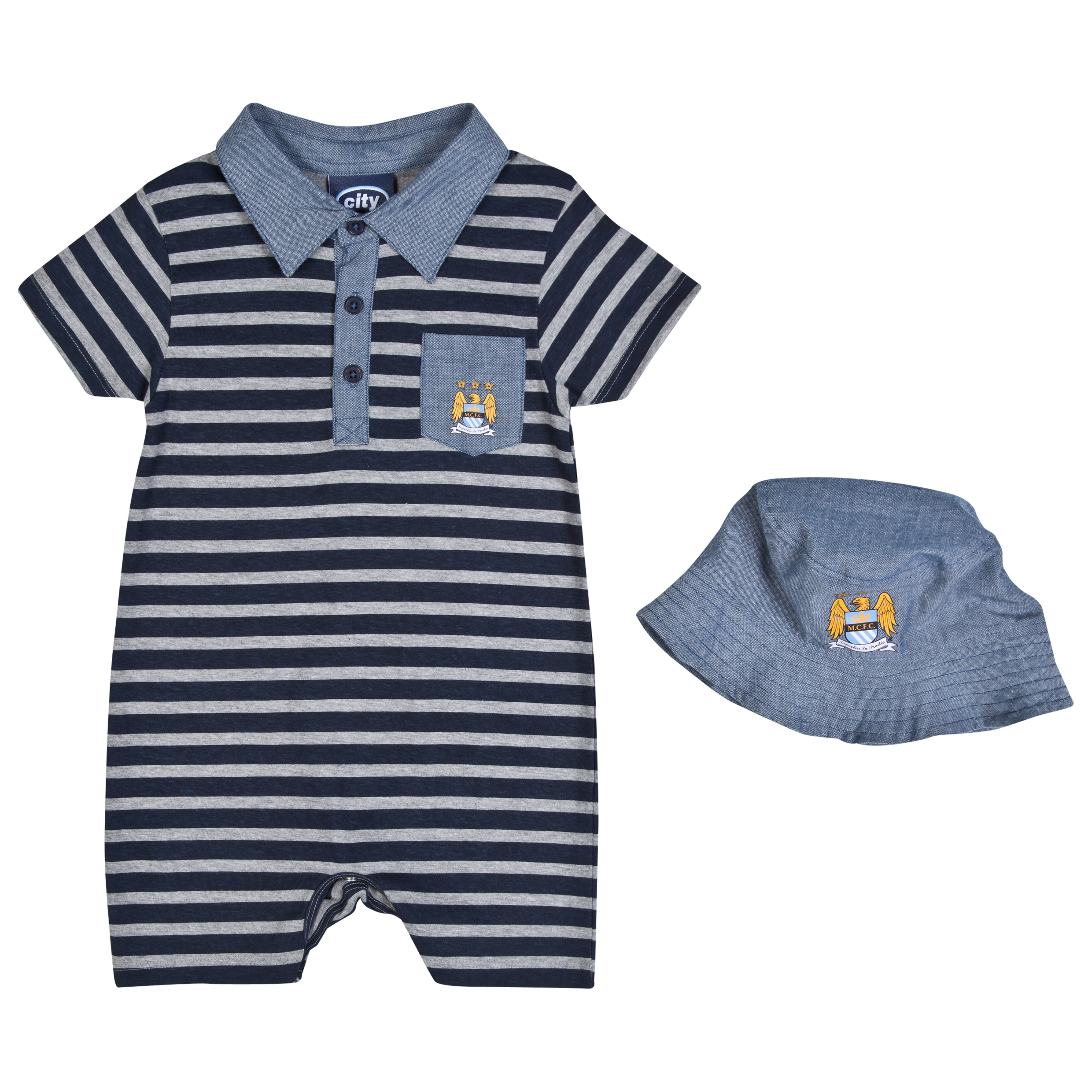 Manchester City Pablo Romper and Hat-Baby Lt Grey