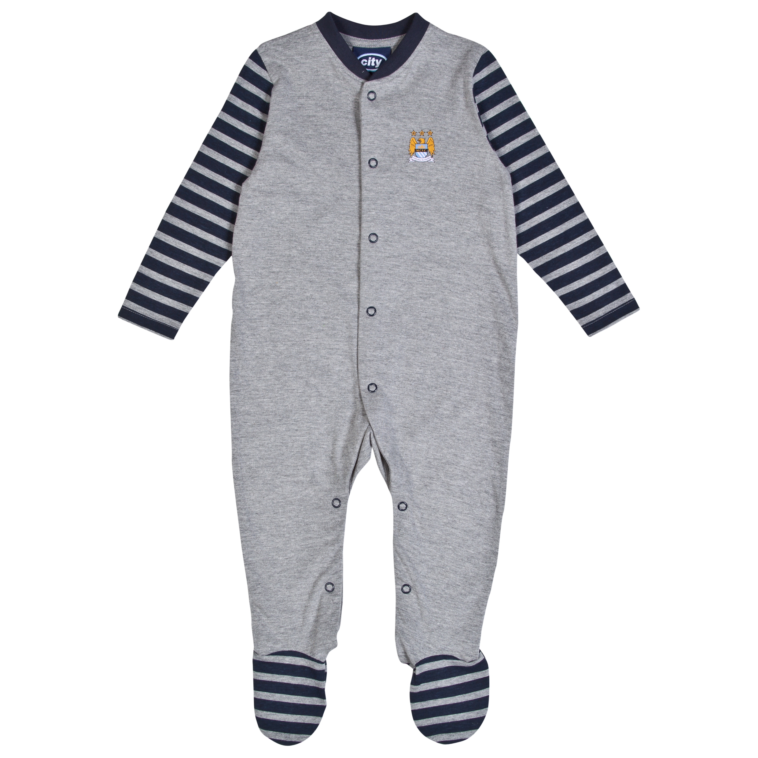 Manchester City Snooze Sleepsuit-Baby Lt Grey
