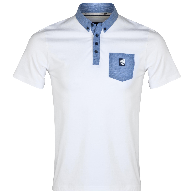 Manchester City Trim Polo Shirt-Mens White