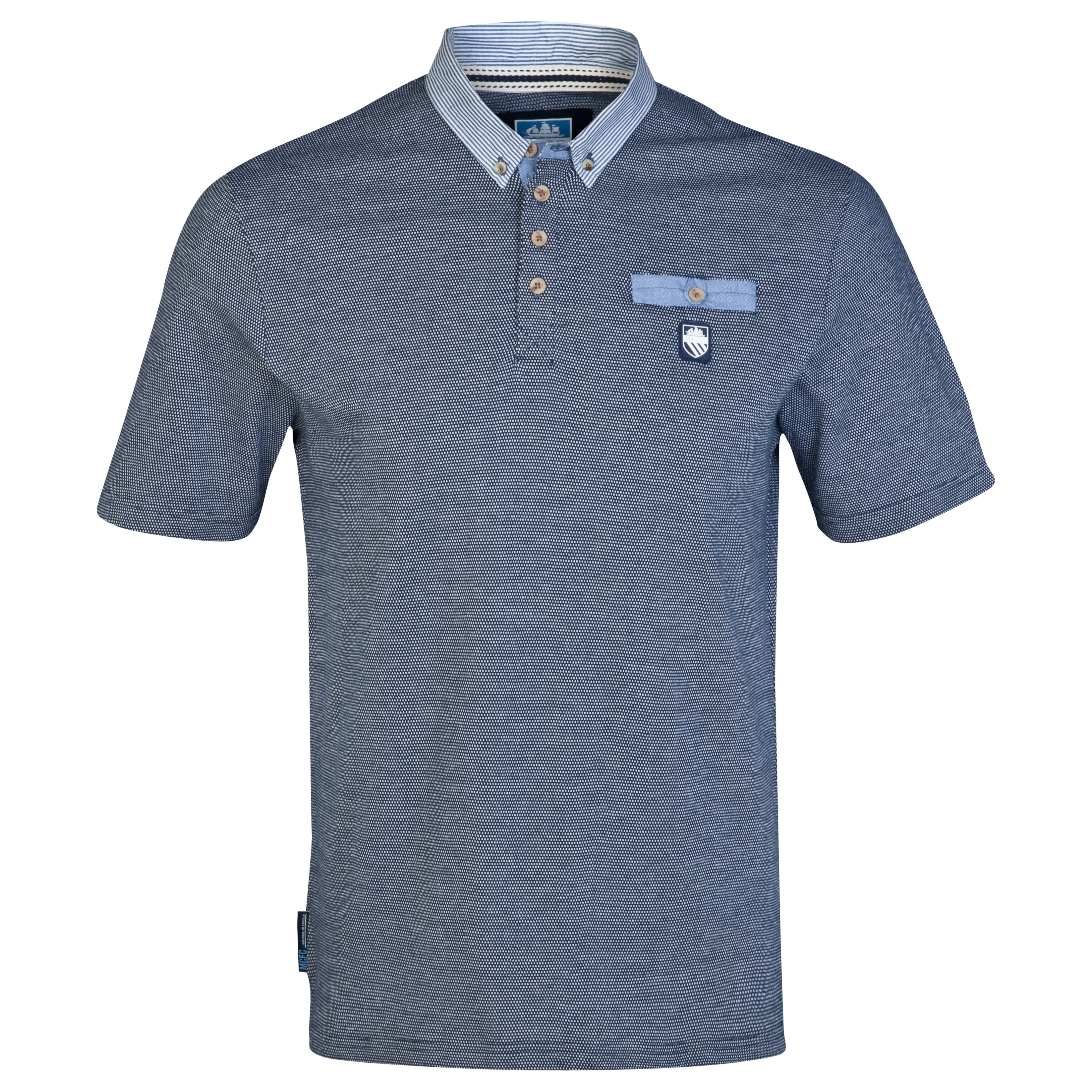 Manchester City Birdseye Polo Shirt-Mens Navy
