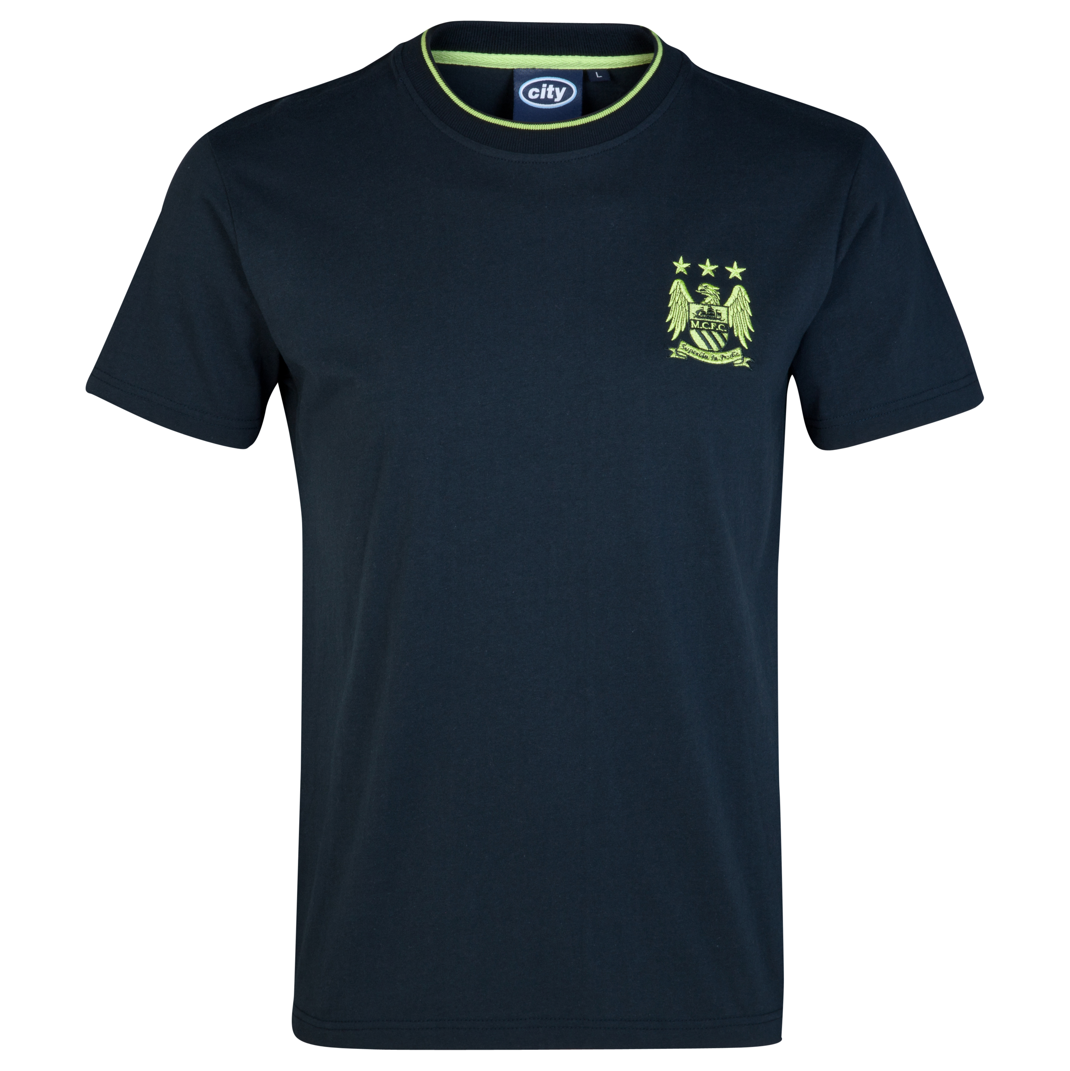 Manchester City Essential Motif T-Shirt-Mens Navy