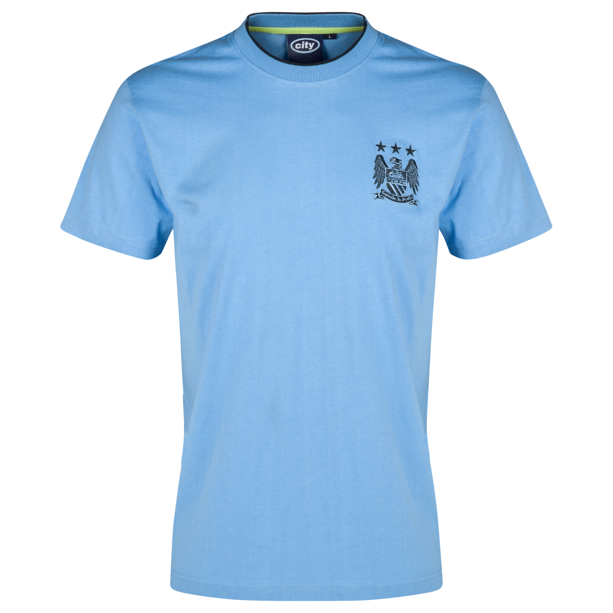 Manchester City Essential Motif T-Shirt-Mens Lt Blue