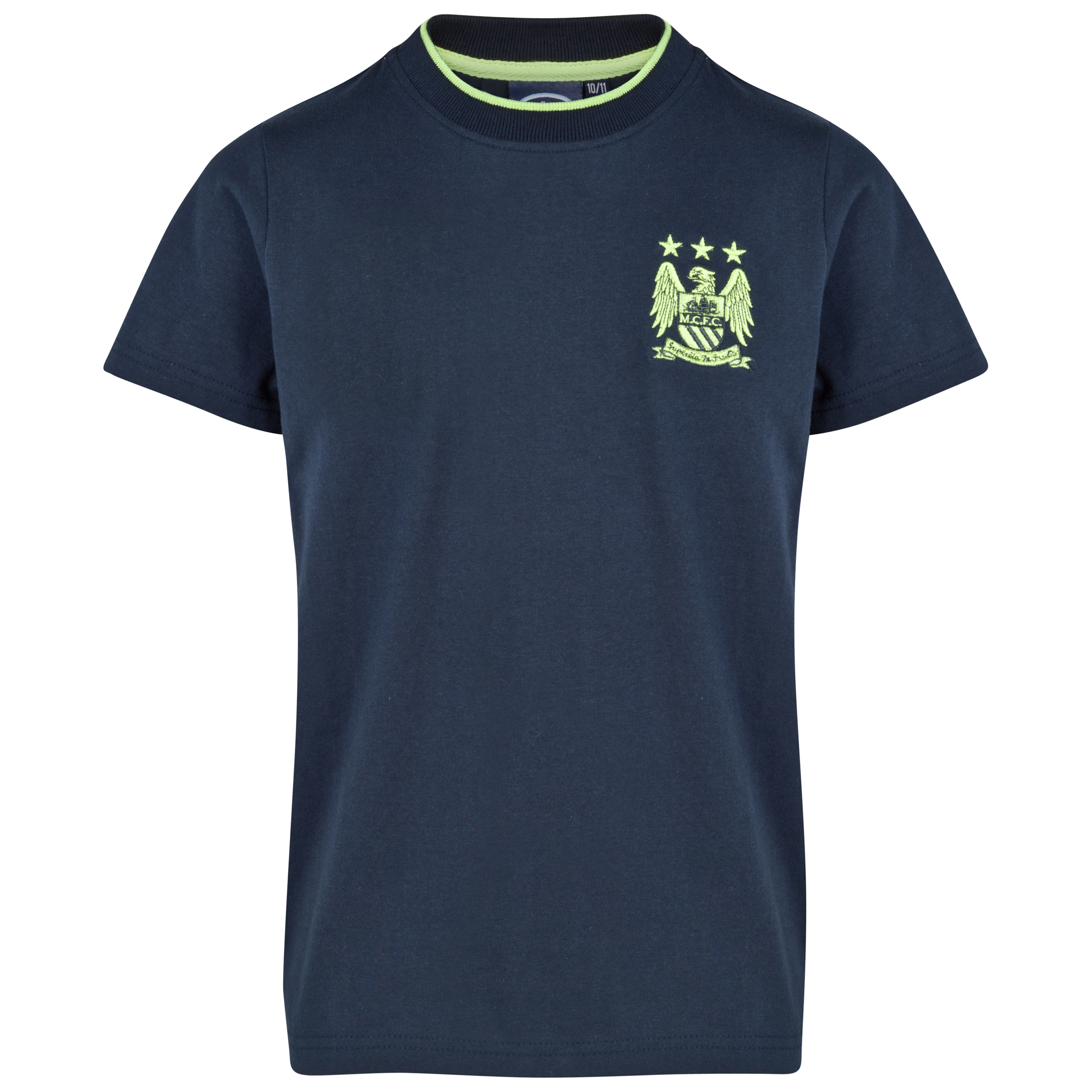 Manchester City Essential Motif T-Shirt-Older Boys Navy
