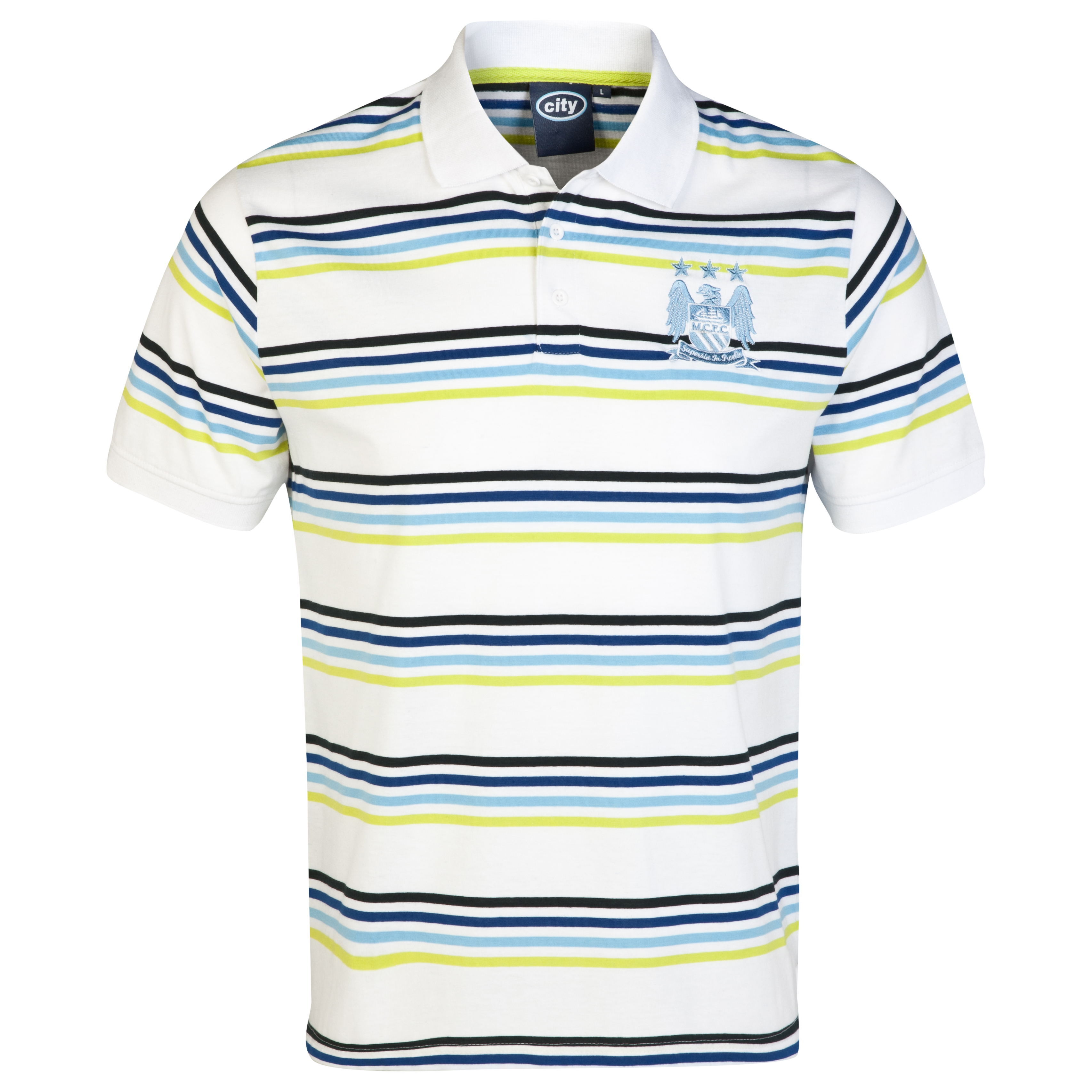 Manchester City Essential Vivid Polo Shirt-Mens White