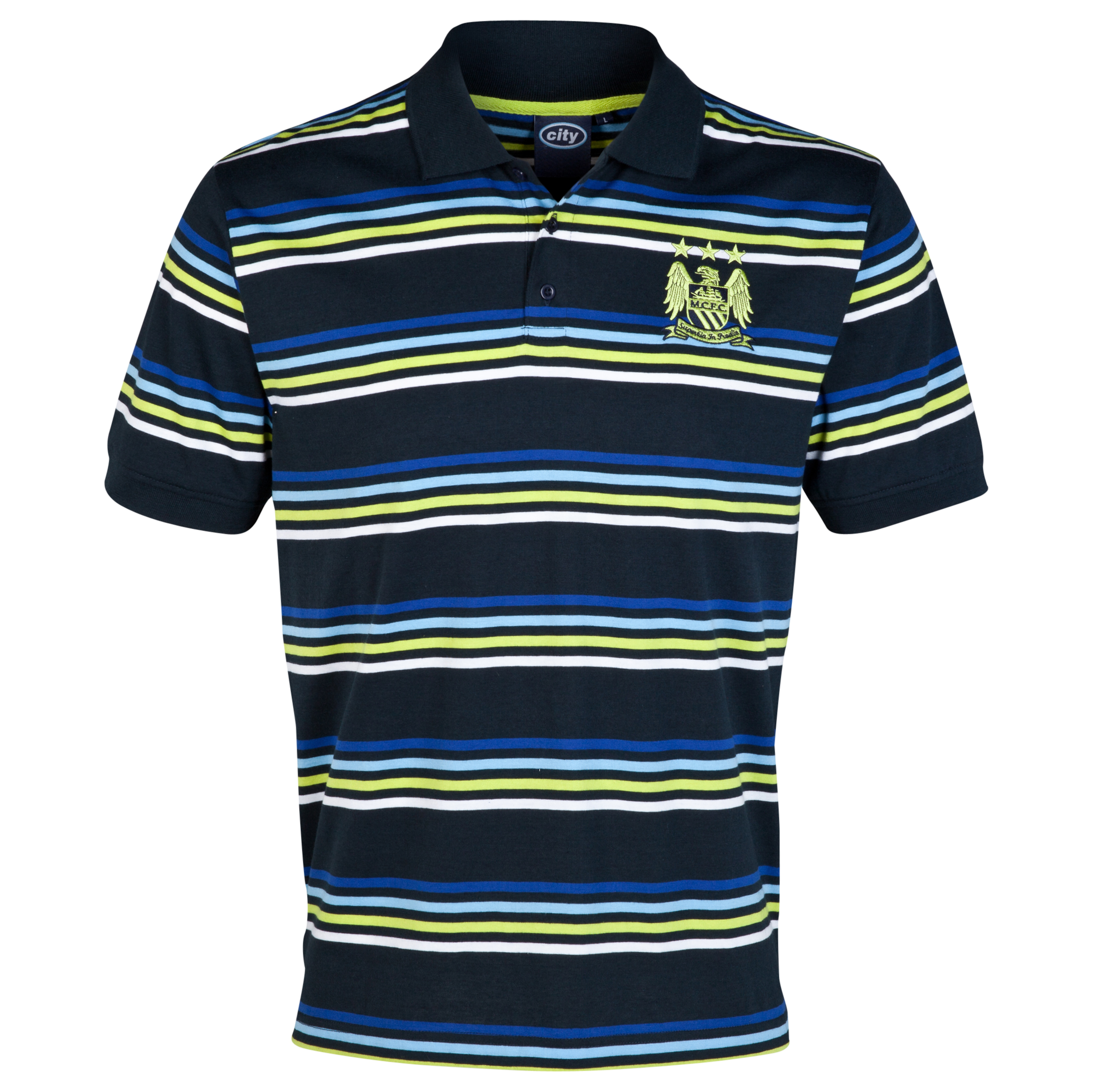 Manchester City Essential Vivid Polo Shirt-Mens Navy