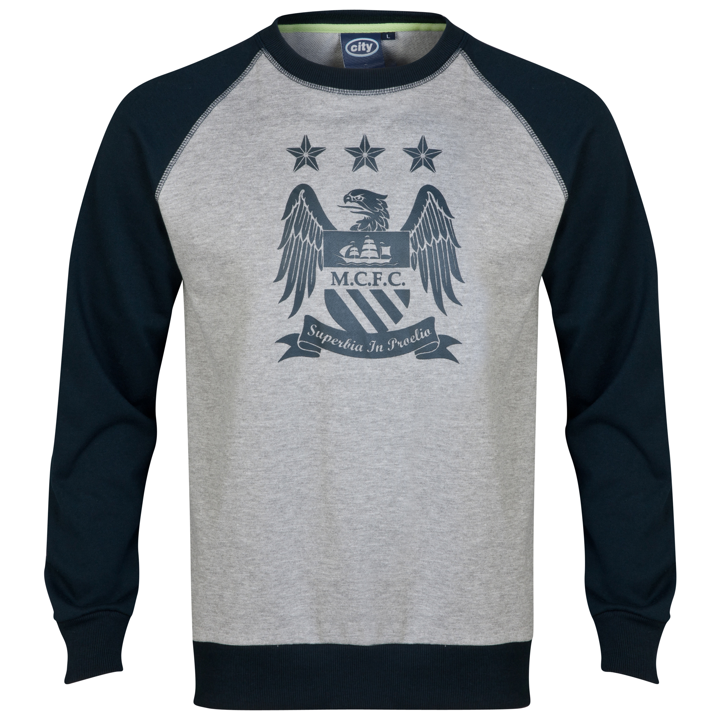 Manchester City Essential Duo Sweatshirt-Mens Lt Grey