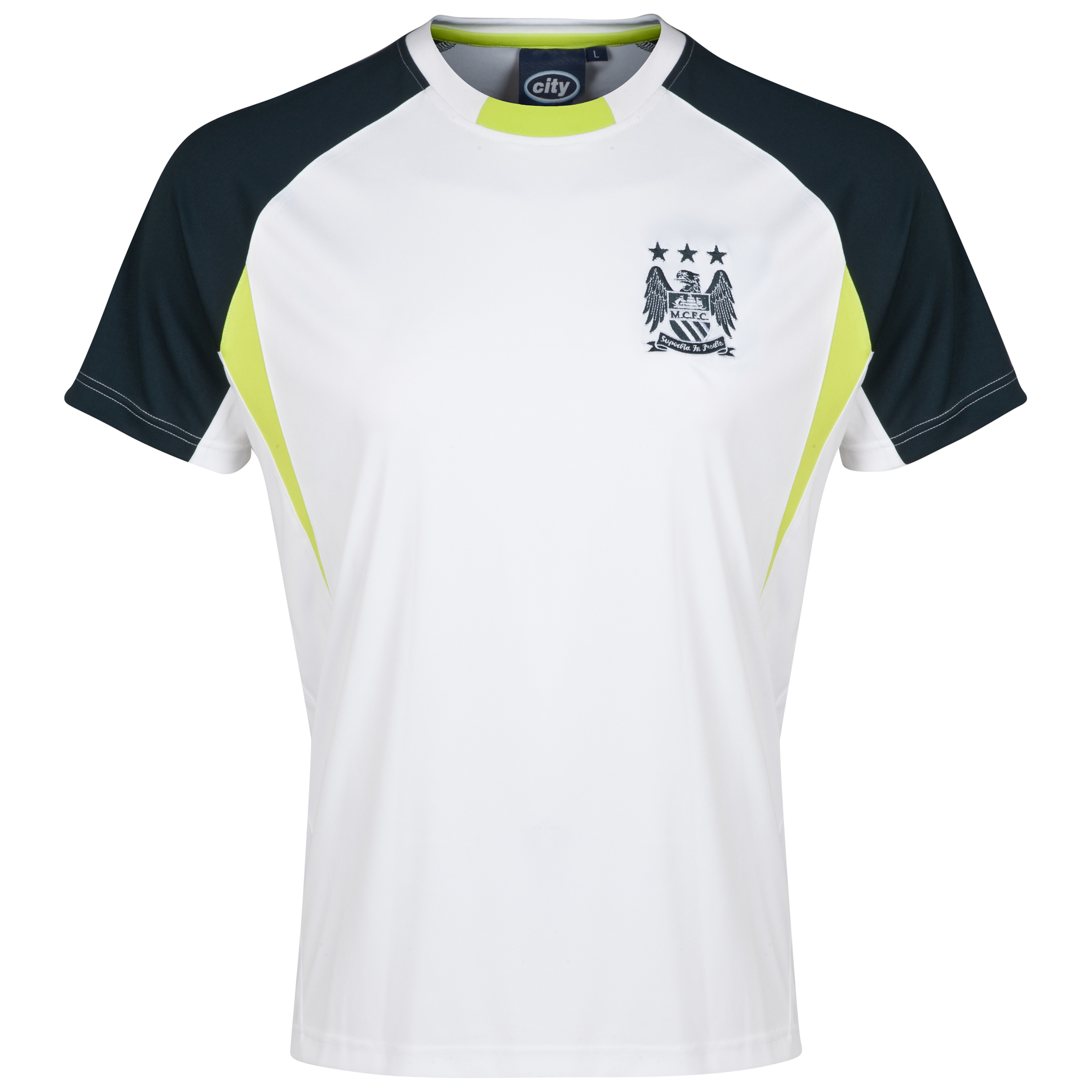 Manchester City Essential Blaze T-Shirt-Mens White