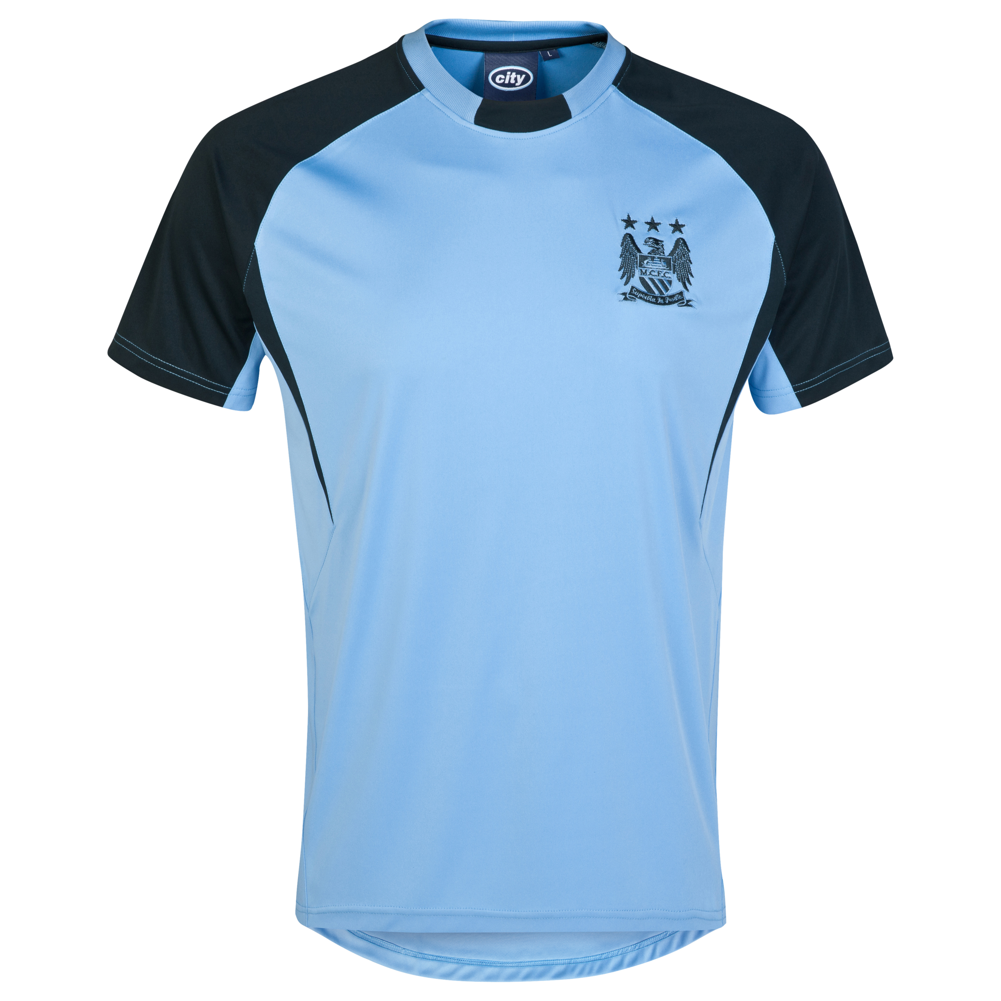 Manchester City Essential Blaze T-Shirt-Mens Lt Blue